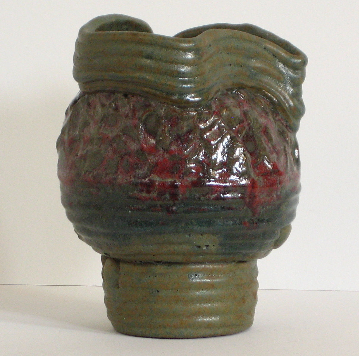 Red & Green Textured Amorphic Vase <br><br>#6674
