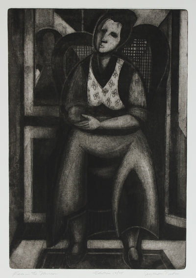 <i>Face in the Mirror</i><br>1950s Cubist Etching<br><br>#66788