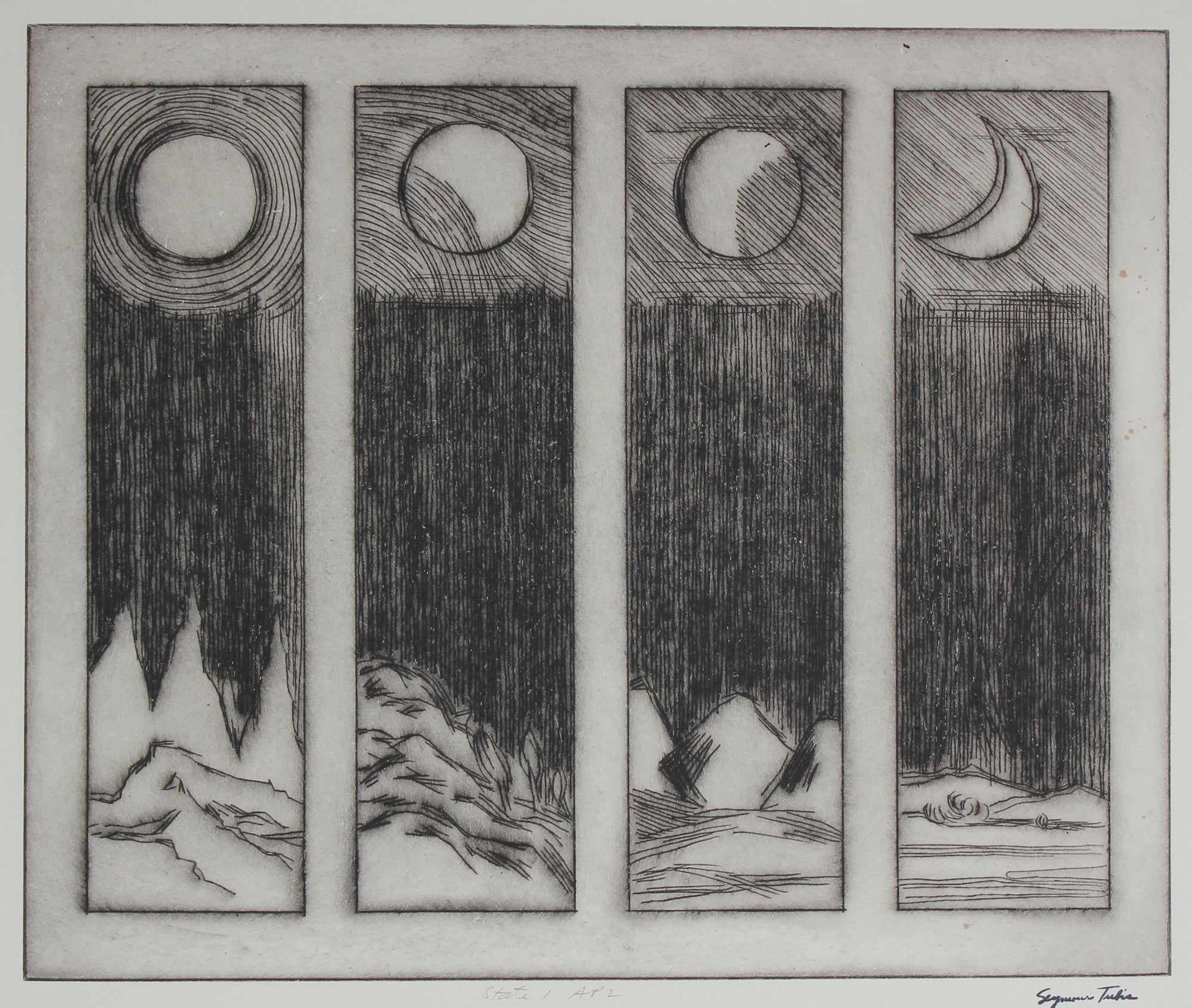 Monochromatic Phases of the Moon <br>Mid Century Etching <br><br>#66972