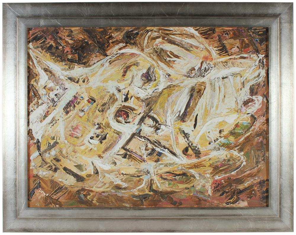 Cream-Colored Abstract Expressionist Oil<br> Mid - Late 20th Century<br><br>#67681