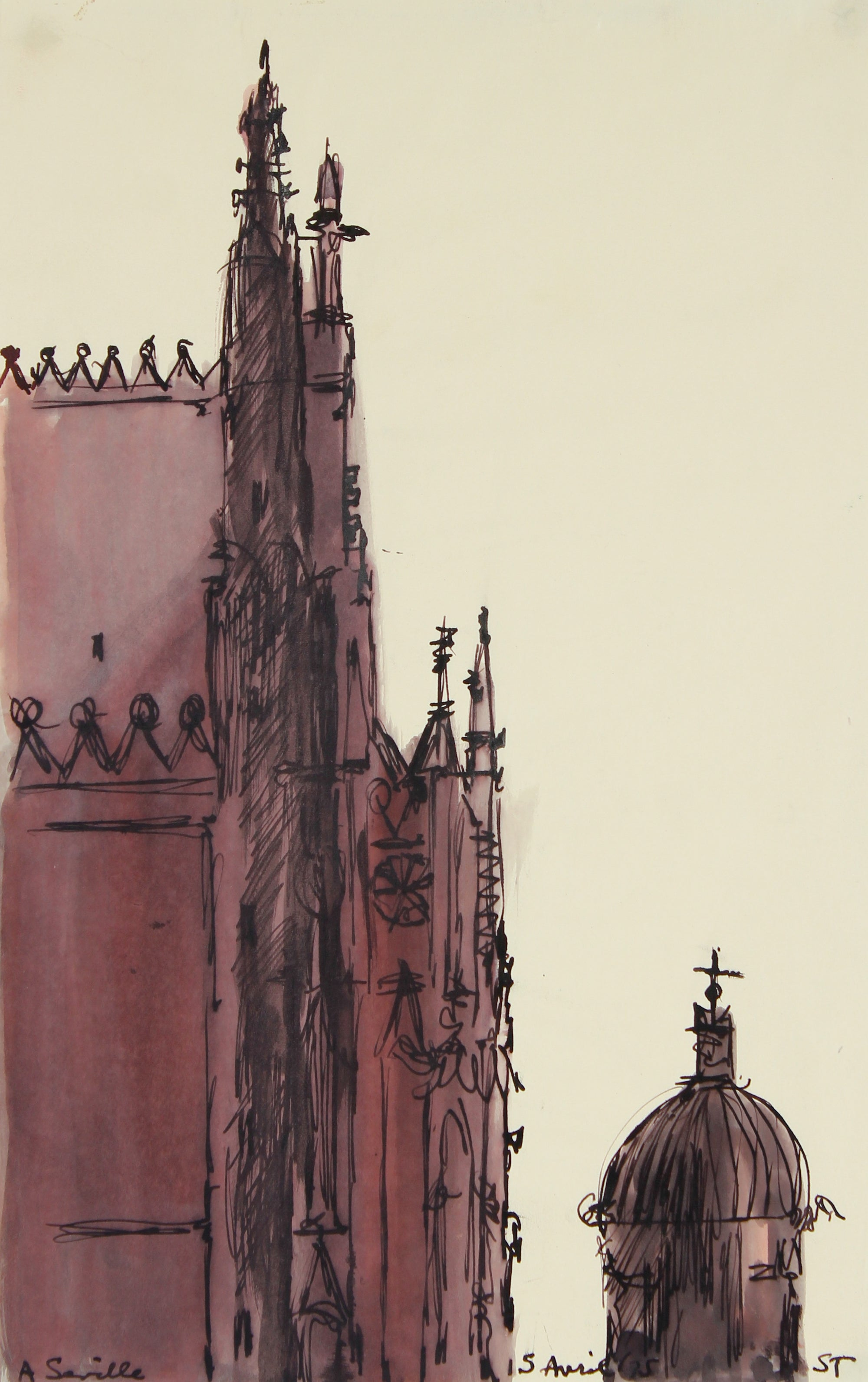 <i>Cathedral - Seville</i> <br>1975 Ink Wash on Paper <br><br>#68989