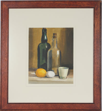 Still Life with Lemon & Bottles<br>Mid Century Watercolor<br><br>#69196