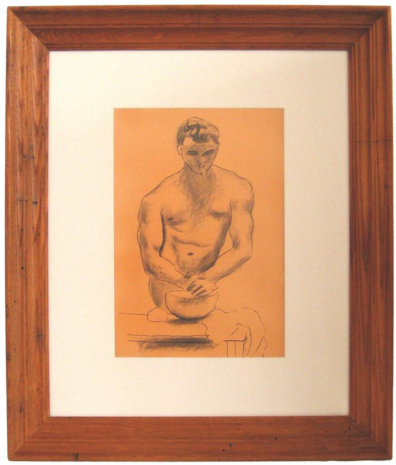 Man with Vessel<br>1930-50s Ink & Graphite<br><br>#16059