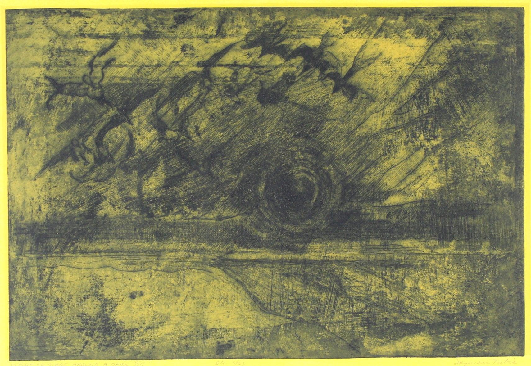 <i>Flight of Birds Around a Dark Sun</i> <br>Mid Century Drypoint Etching <br><br>#69932