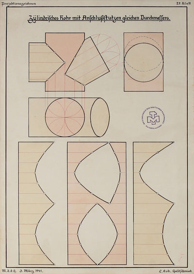 Cut-Out Shapes & Forms -  German Engineering Drawing <br>1941 Ink & Watercolor <br><br>#71113