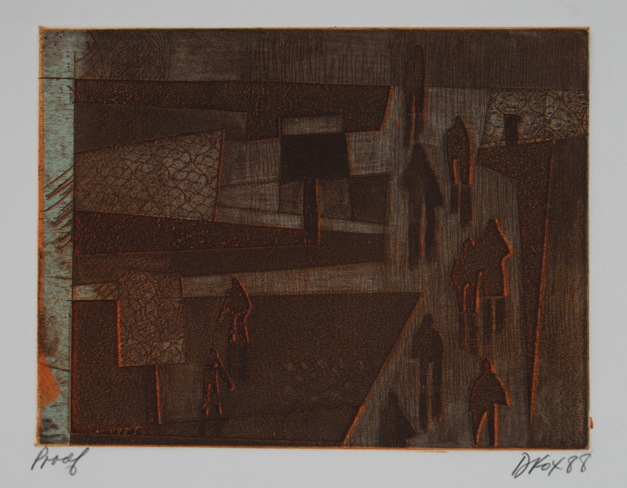 1988 Abstracted People Scene<br>Etching on Paper<br><br>#71238