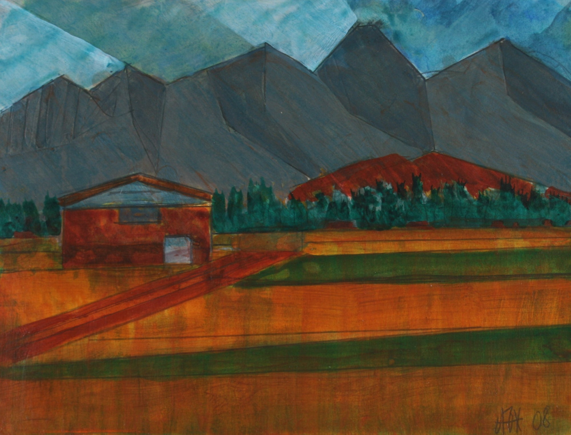 <i>Sawtooth Mountain</i><br>2008 Acrylic & Graphite<br><br>#71249