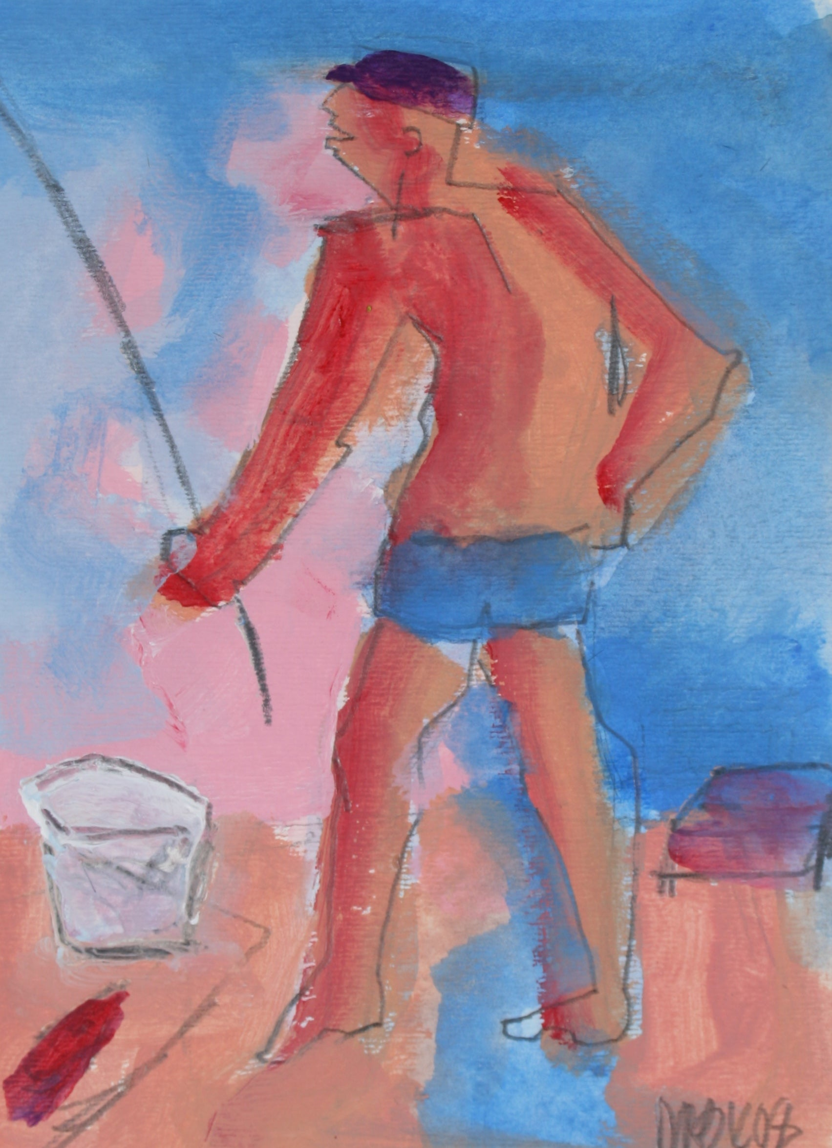 <i>Fisherman - Huntington Beach</i><br>2008 Acrylic<br><br>#71264