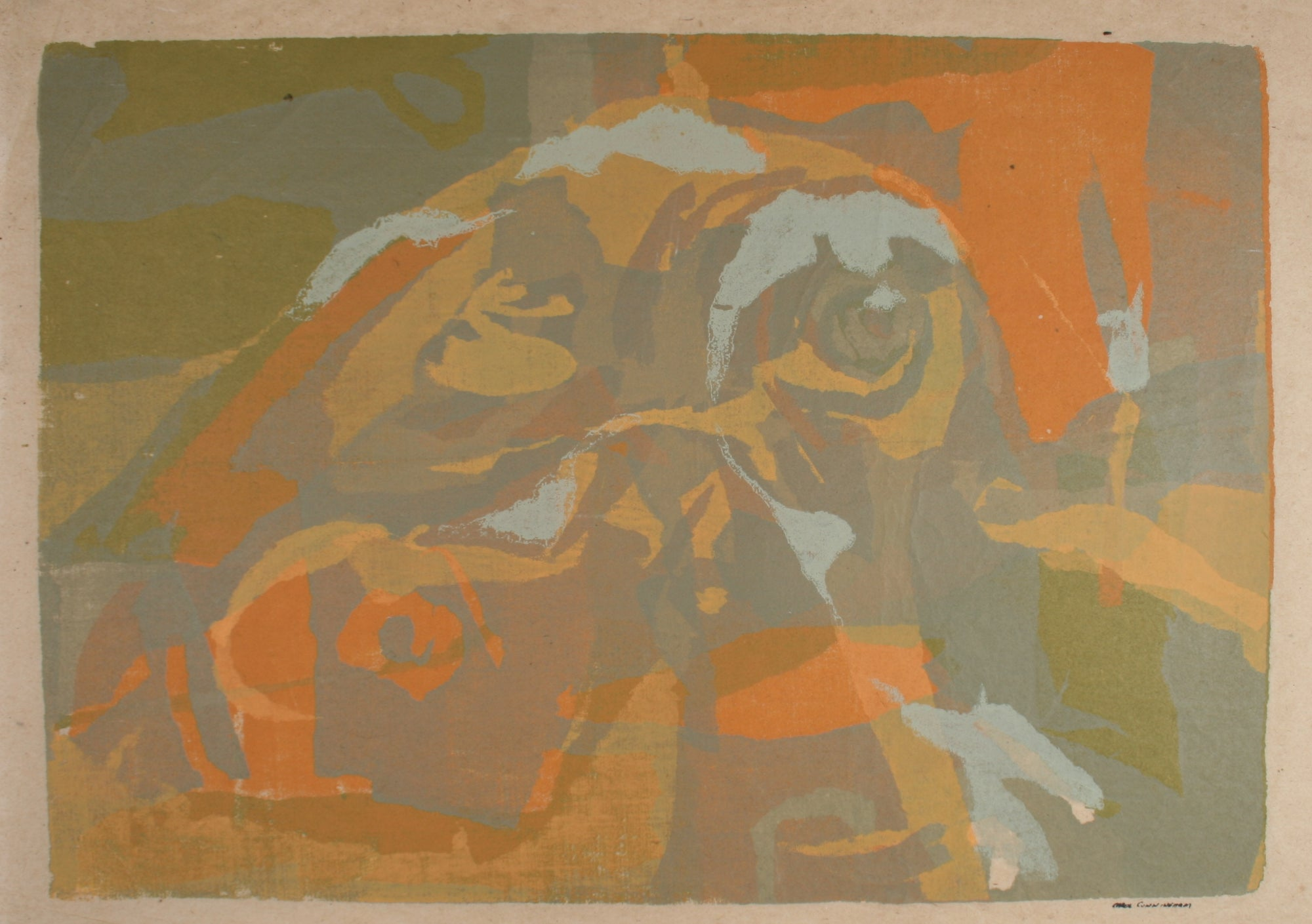 Orange & Green Abstraction<br>1960-70s Serigraph<br><br>#71283