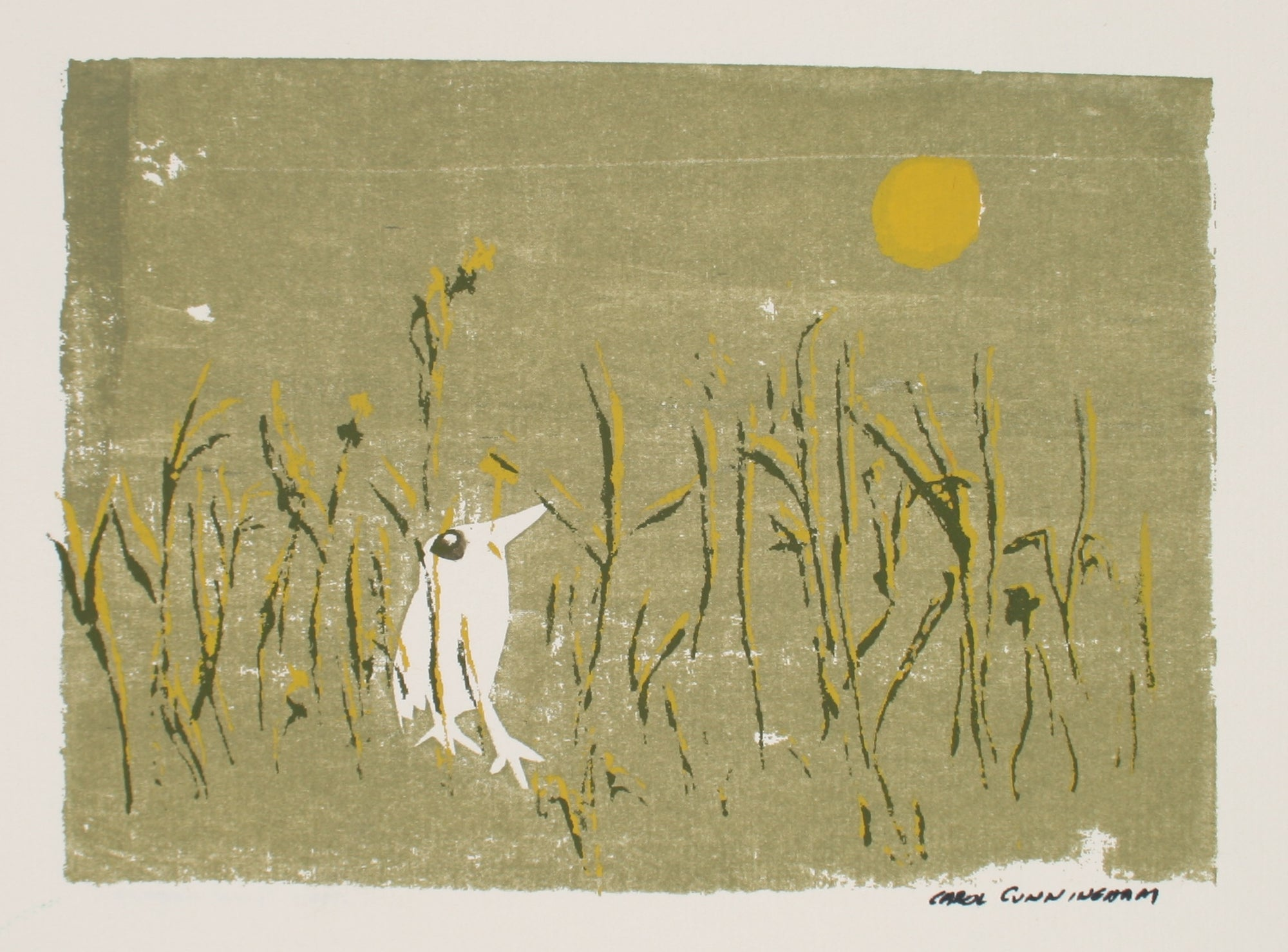 Little Bird in Grass<br>1960-70s Serigraph<br><br>#71300