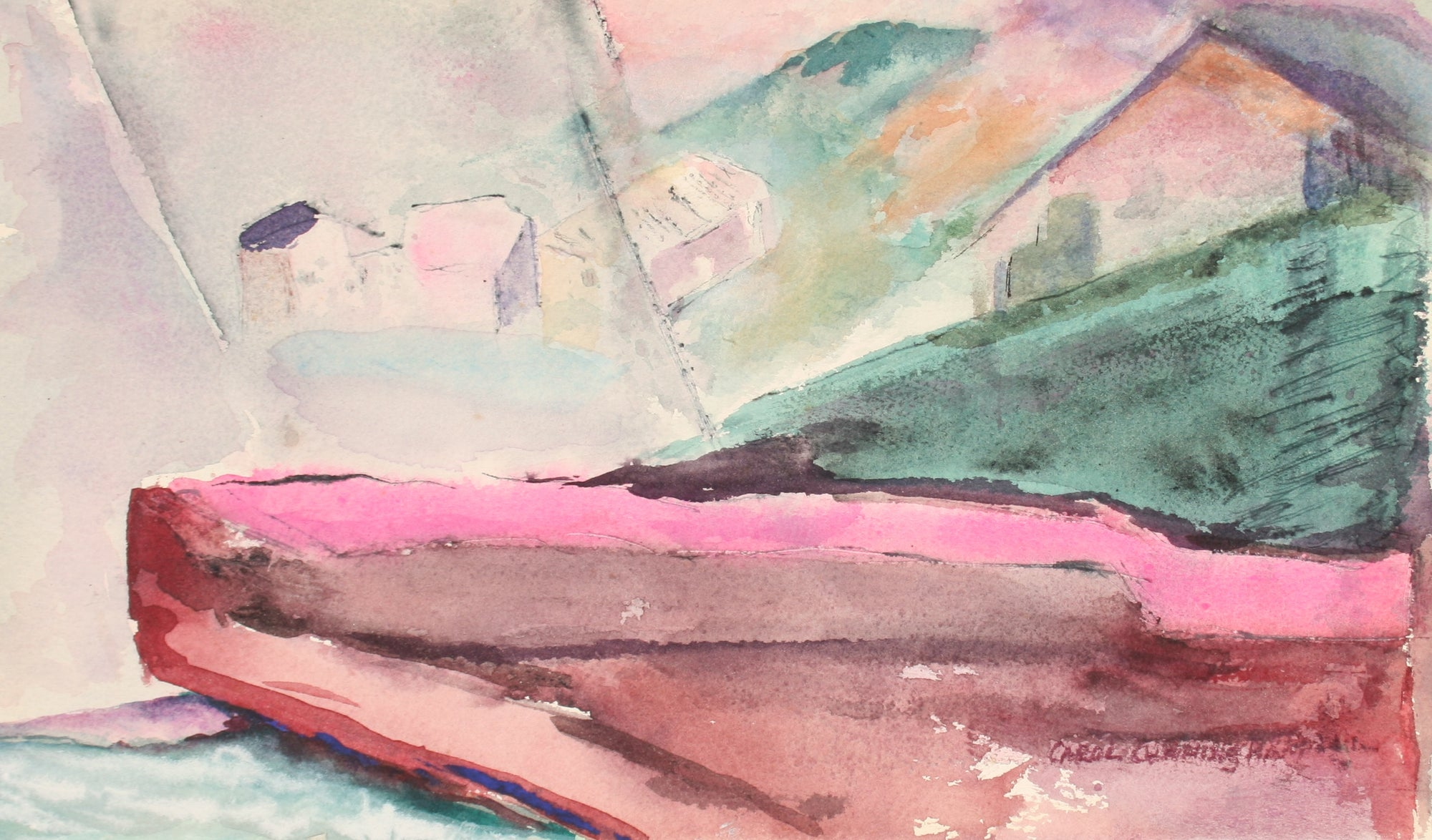 <i>Yellow Field</i><br>1960-70s Watercolor<br><br>#71340