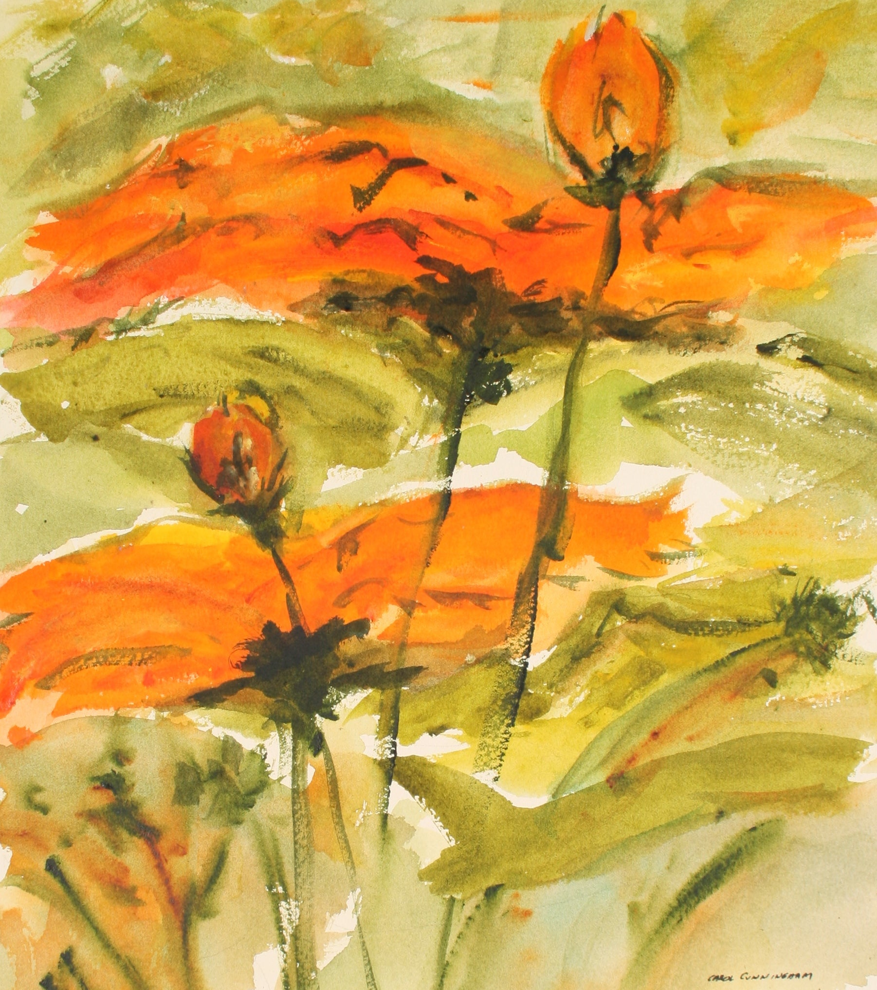 Fiery Flowers<br>1960-70s Watercolor<br><br>#71342