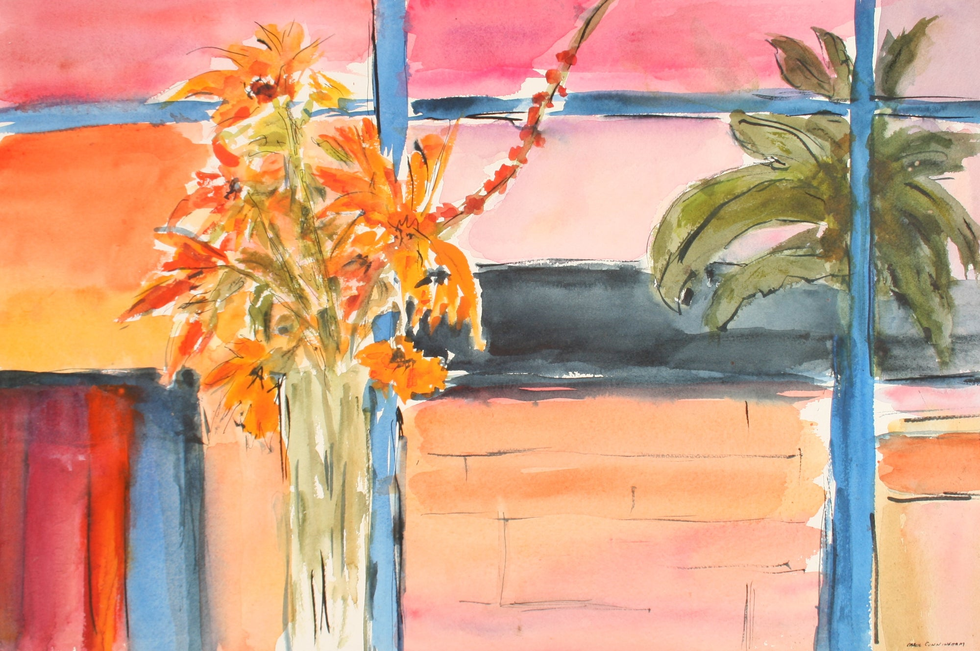 Pink Sky & Orange Flowers<br>1960-70s Watercolor<br><br>#71344