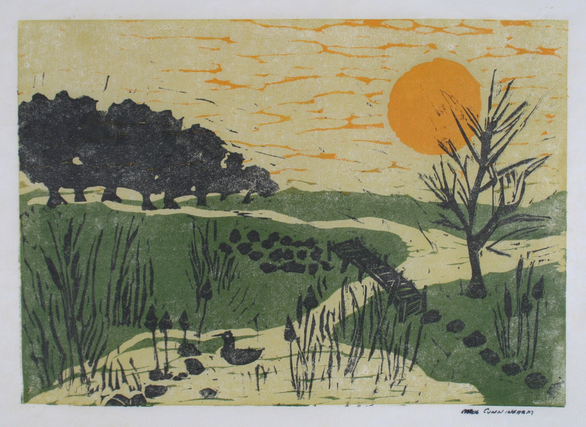 Park Scene With Ducks<br>1960-70s Linoleum Block Print<br><br>#71351