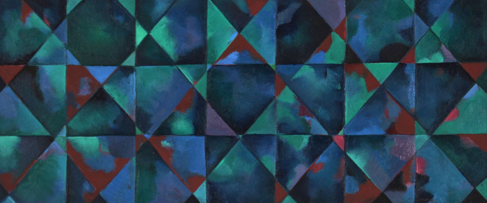 <i>Reflection</i> Geometric Abstract<br>20th Century Oil on Paper<br><br>#71431