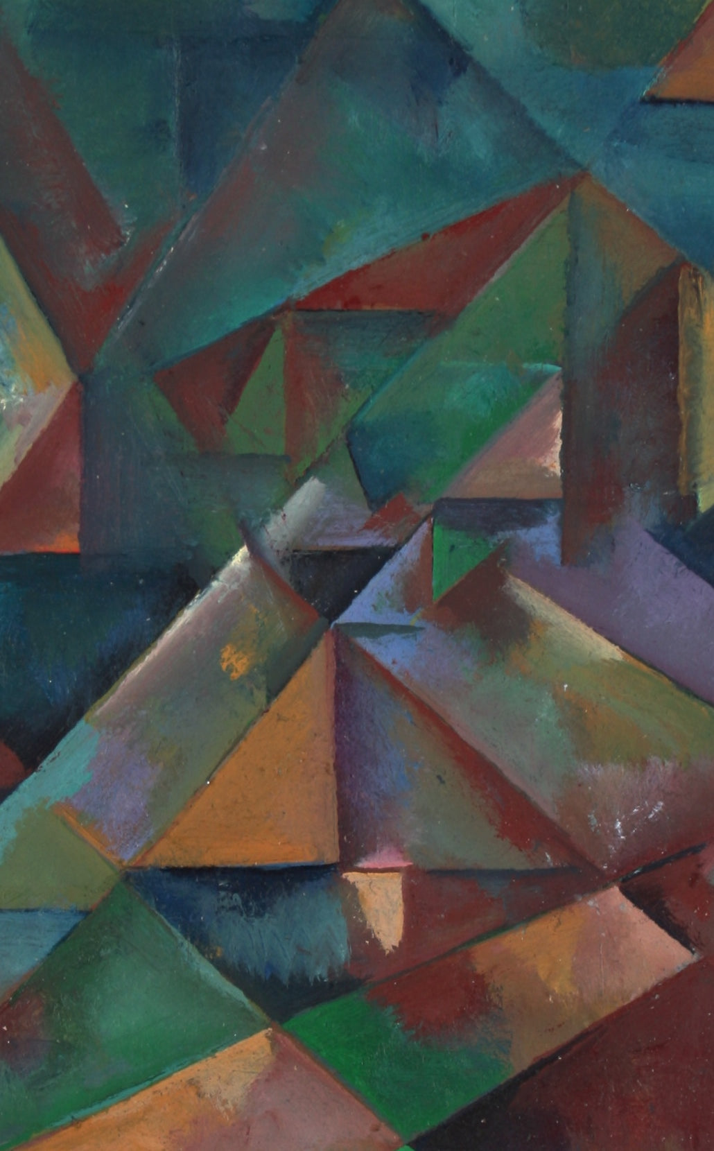 Desaturated Triangular Grid<br>Late 20th Century Oil on Paper<br><br>#71432