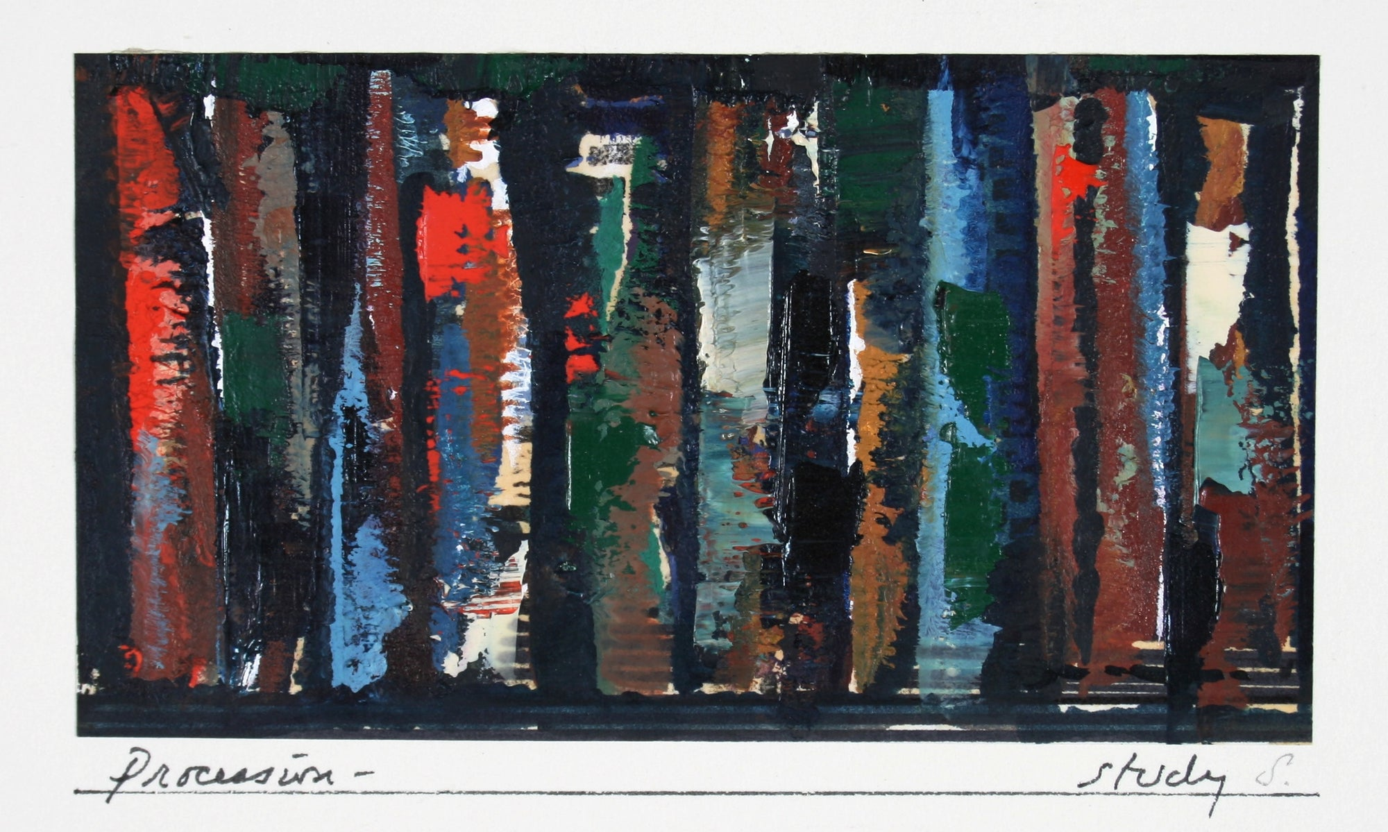 <i>Procession - A Study</i><br>Late 20th Century Oil on Paper<br><br>#71436