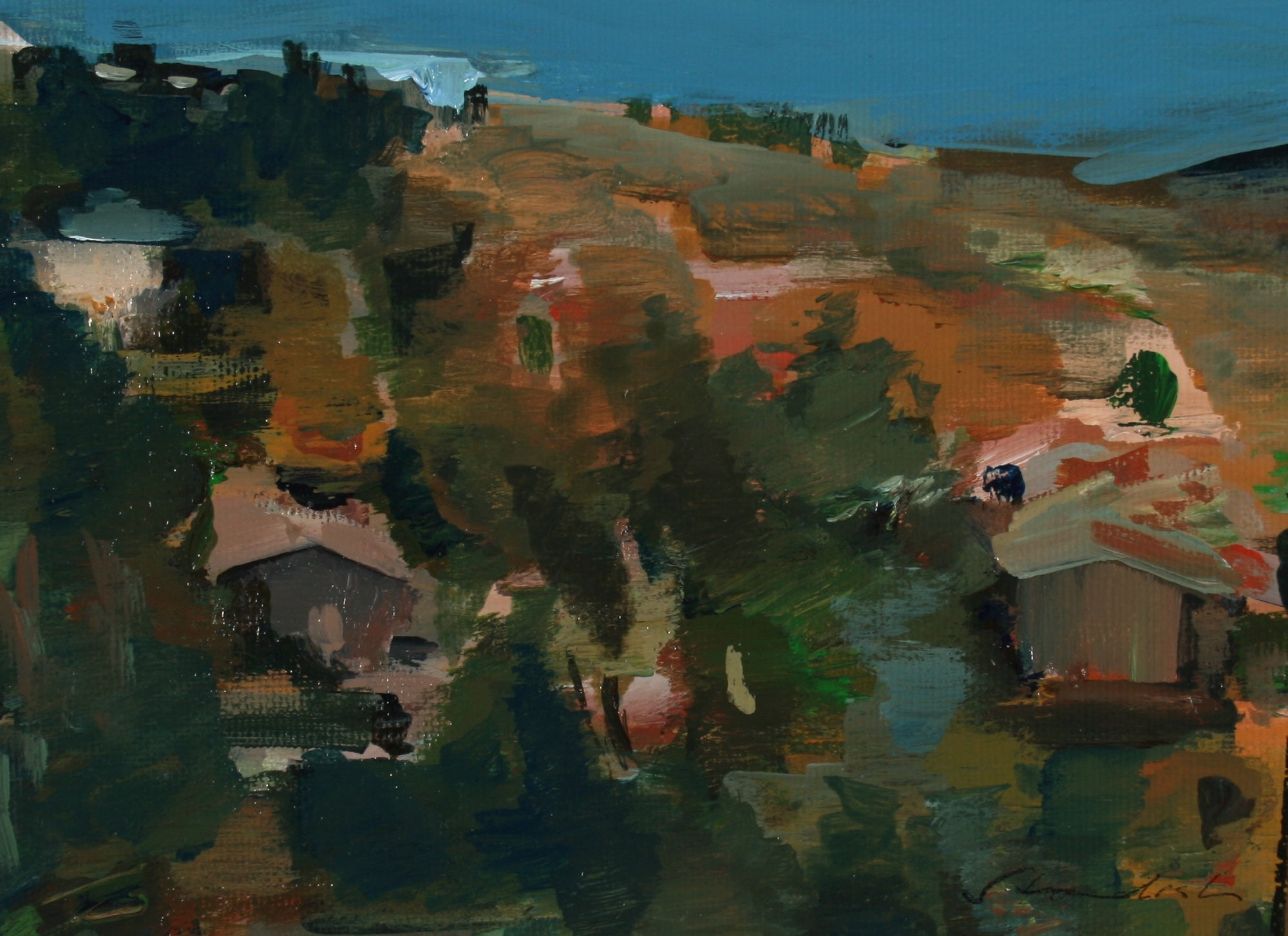 Abstracted Los Angeles Hillside <br>Late 20th Century Oil on Paper <br><br>#71446