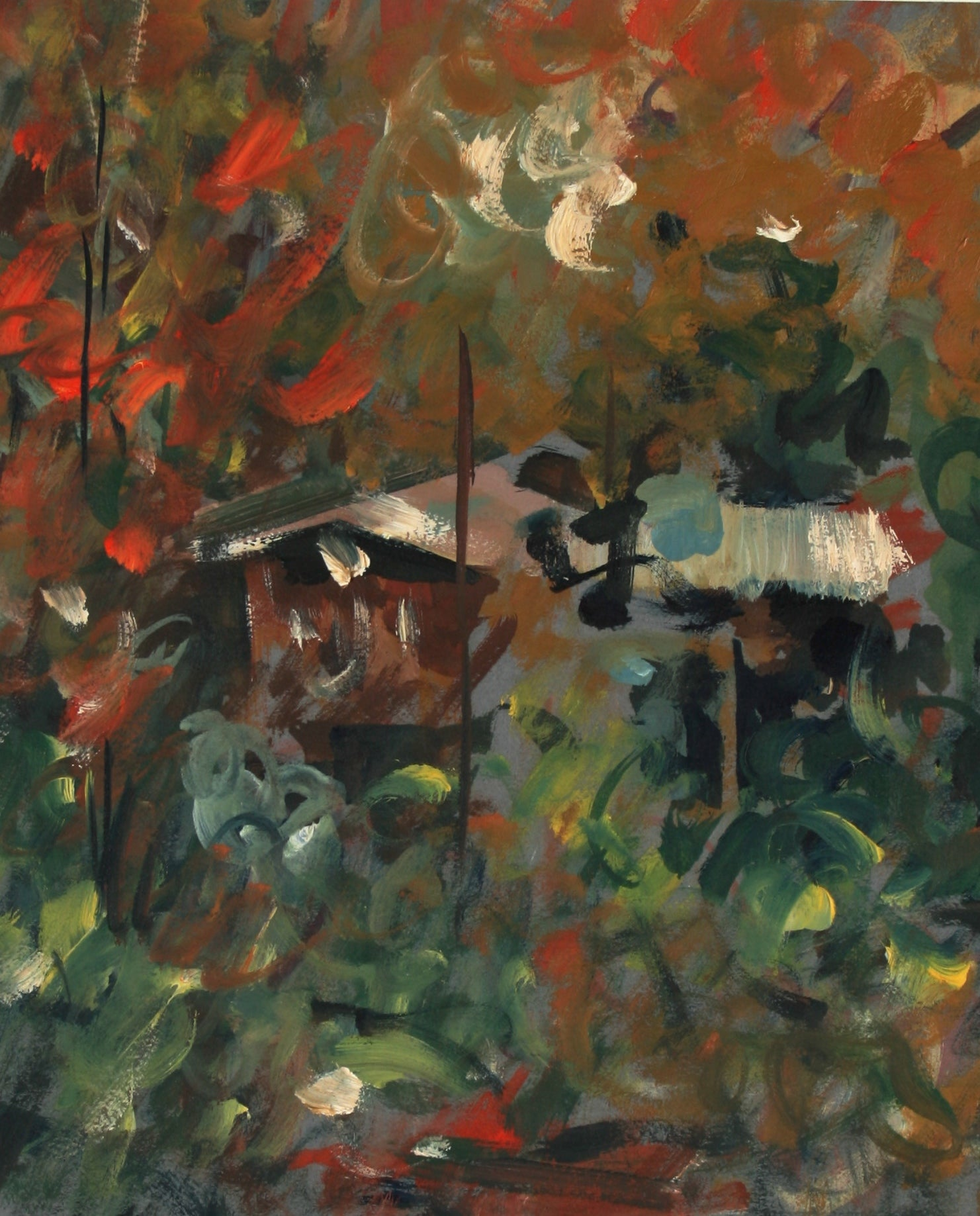 House & Field Abstraction<br>Late 20th Century Oil<br><br>#71465