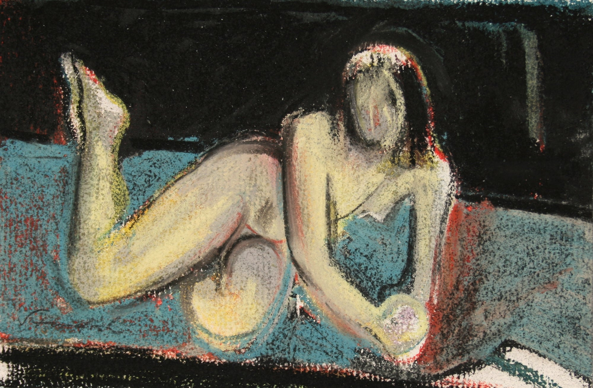 Woman Reclining on a Pillow <br>Late 20th Century Pastel<br><br>#71476