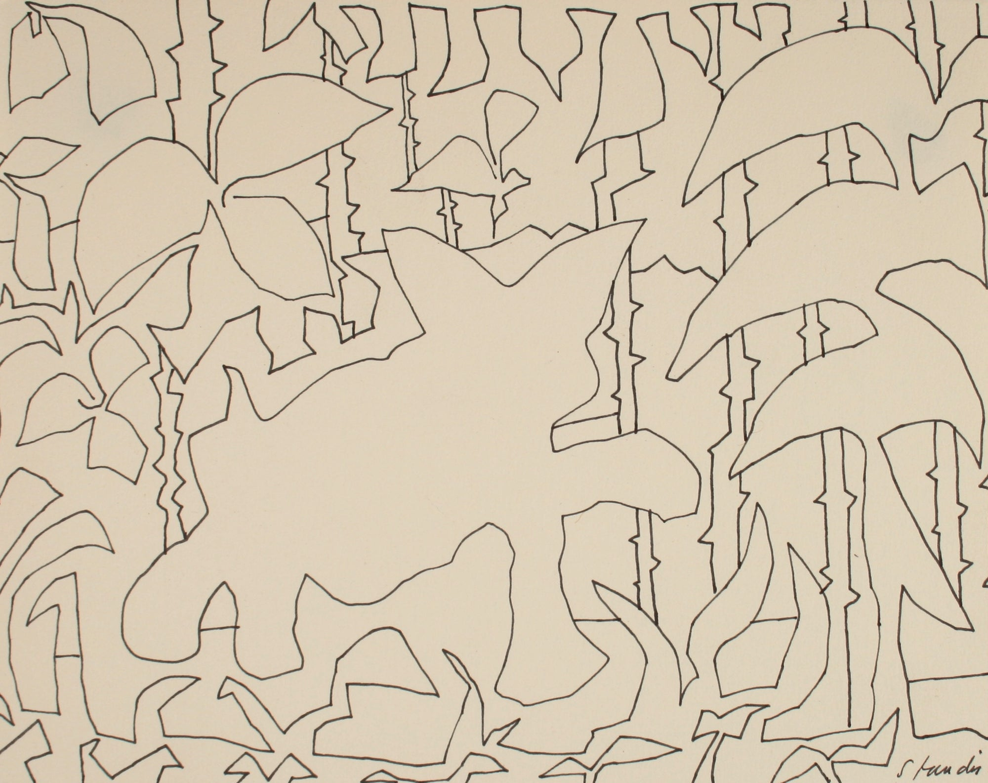 Bold Foliage Abstracted Outlines <br>Late 20th Century Ink<br><br>#71488