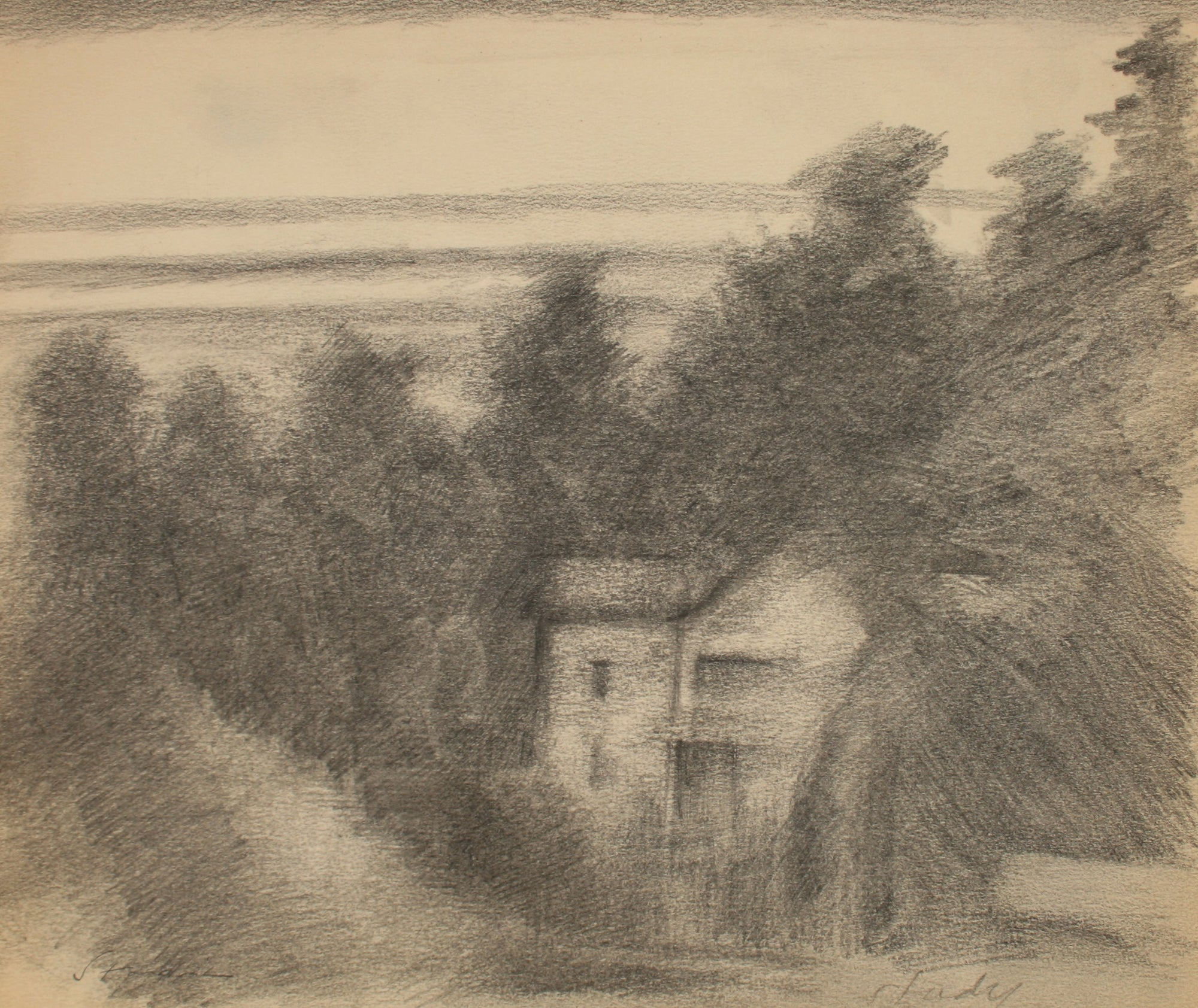<i>Study</i> Landscape with House<br>Late 20th Century Graphite<br><br>#71495
