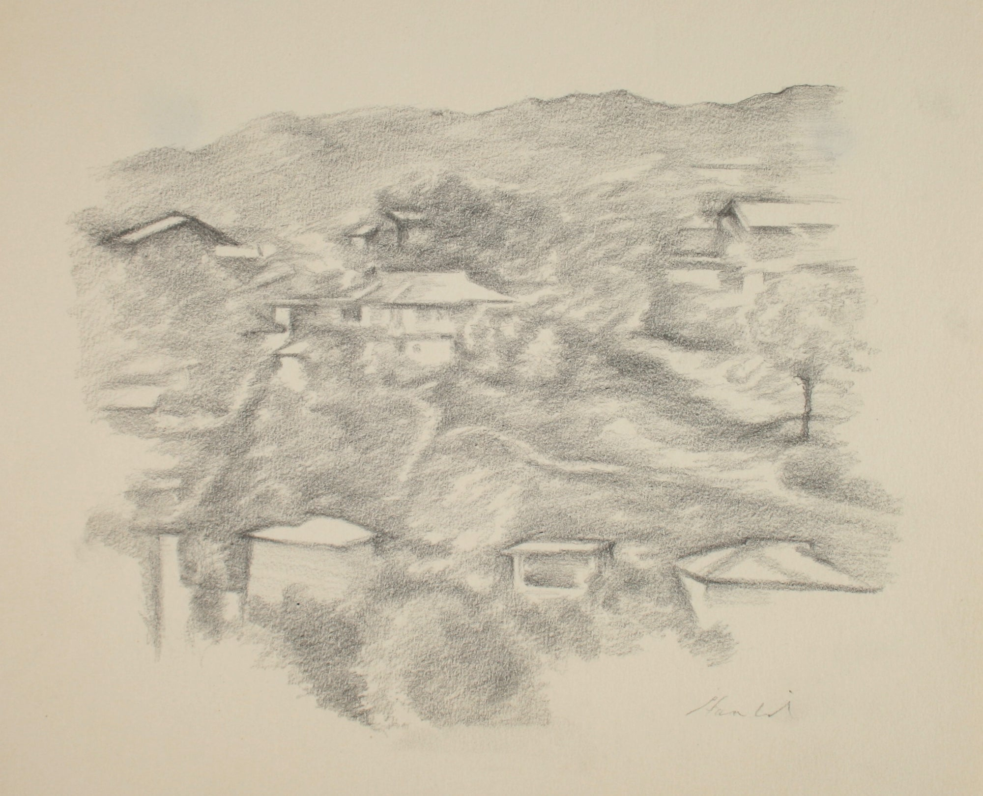 Aerial View of Hillside <br>Late 20th Century Graphite <br><br>#71502
