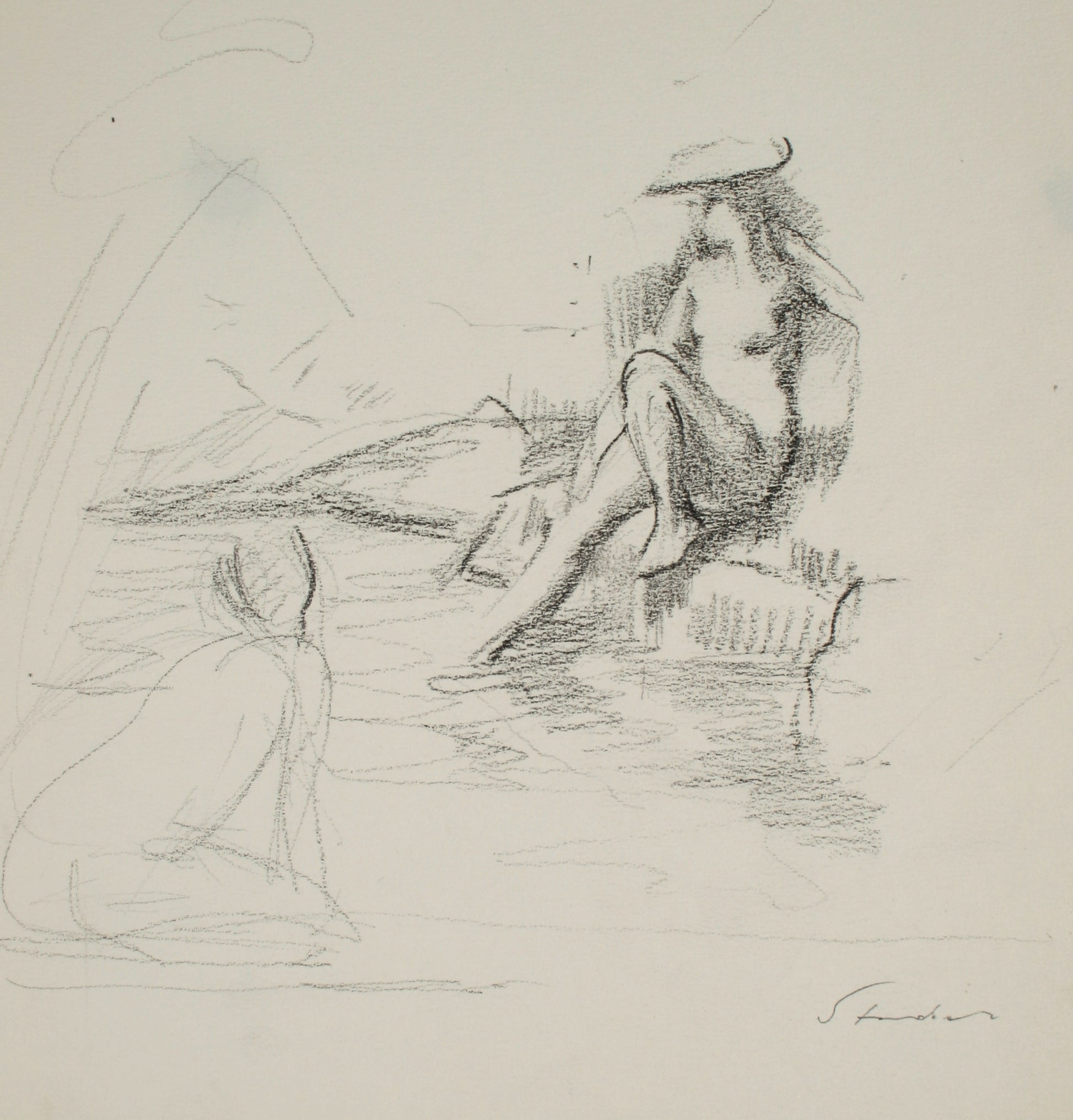 Women Reclined near the Water <br>Late 20th Century Graphite <br><br>#71503