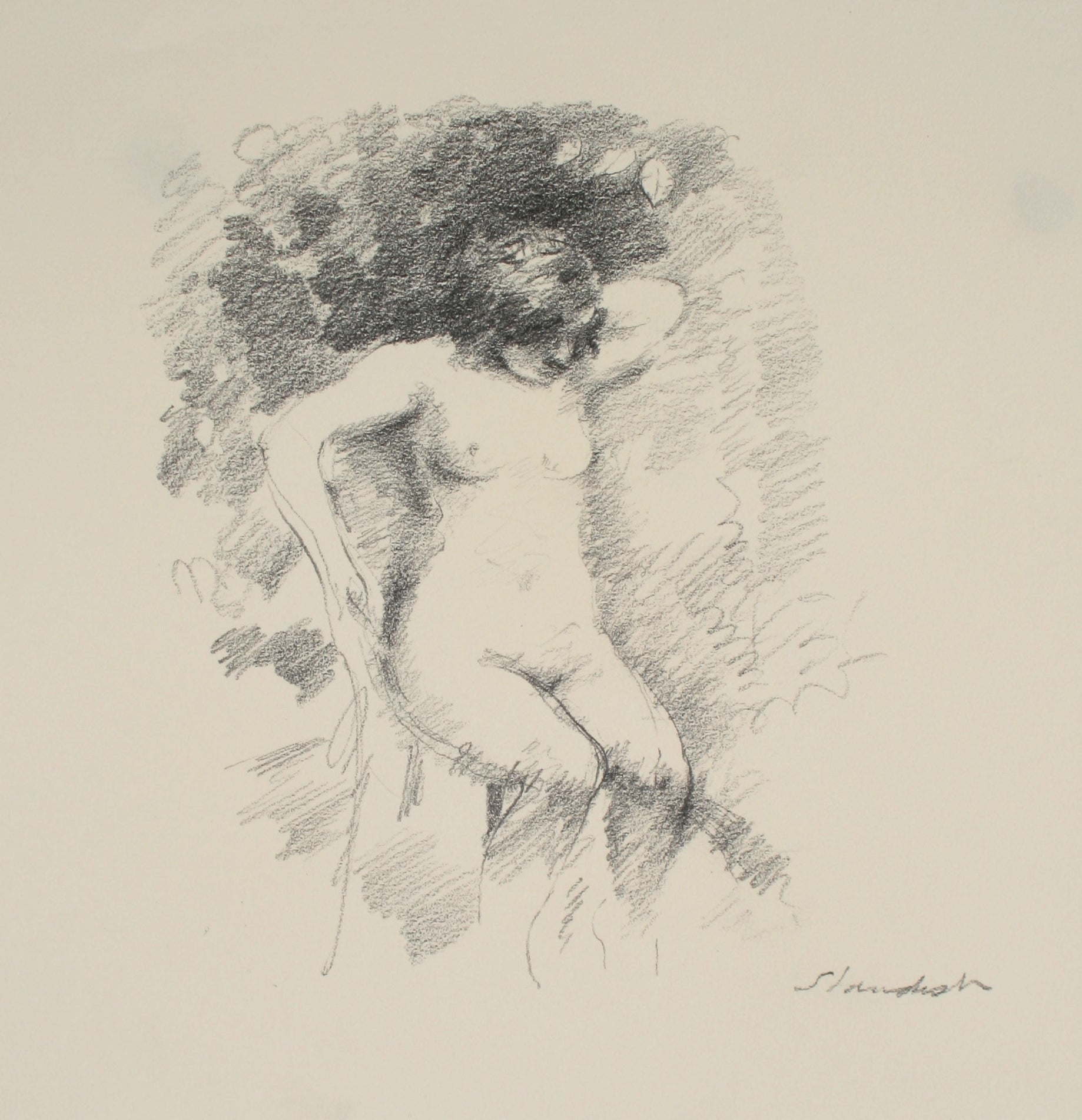 Delicate Seated Nude <br>Late 20th Century Graphite<br><br>#71508