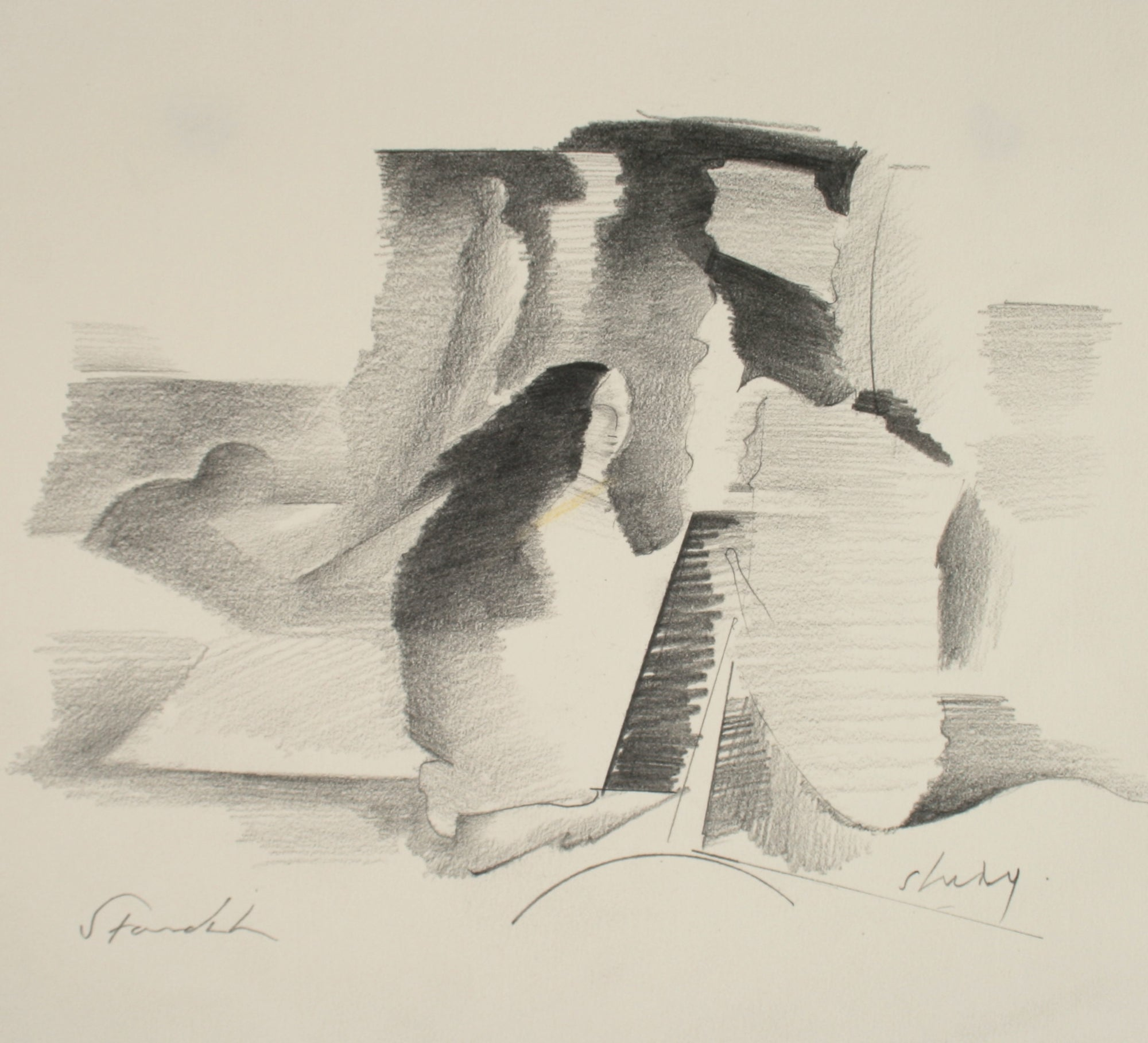 Abstracted Rocky Landscape <br>Late 20th Century Graphite<br><br>#71510