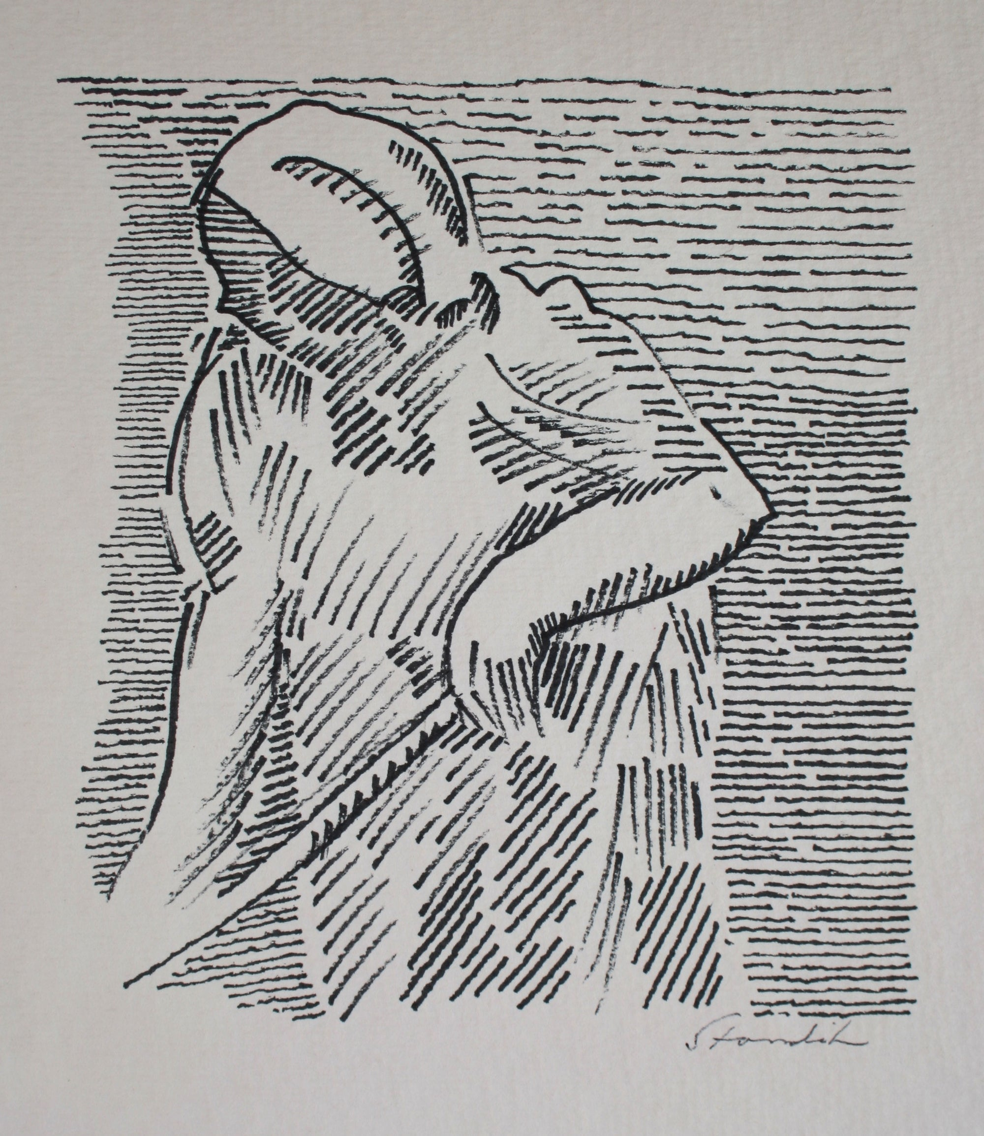 Stylized Portrait of a Woman <br>Late 20th Century Ink <br><br>#71512