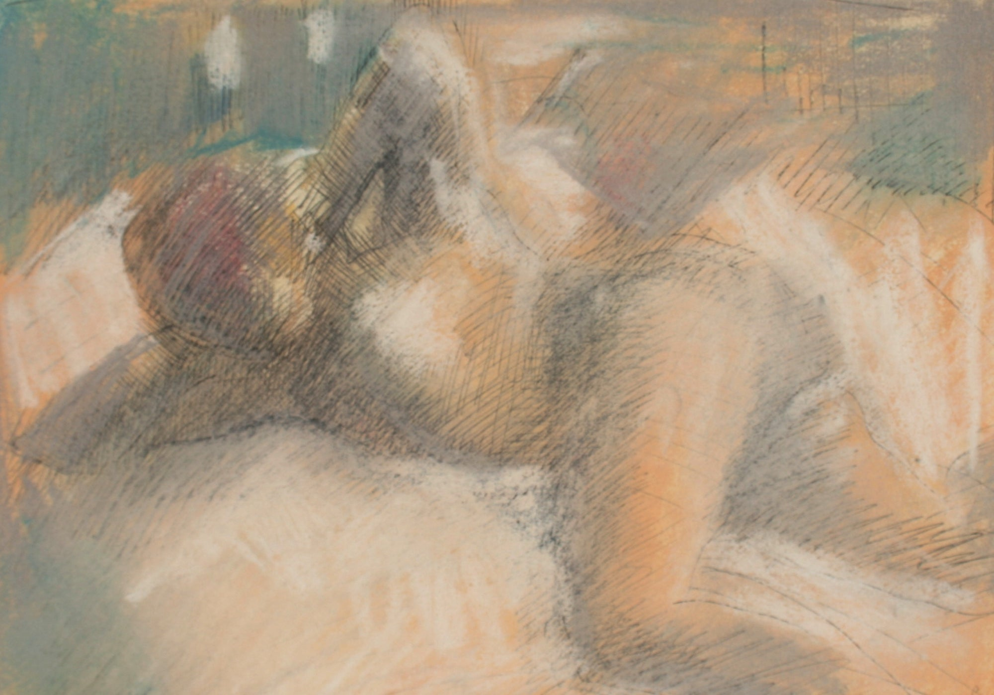 Soft Reclining Figure <br>Late 20th Century Ink and Pastel <br><br>#71516