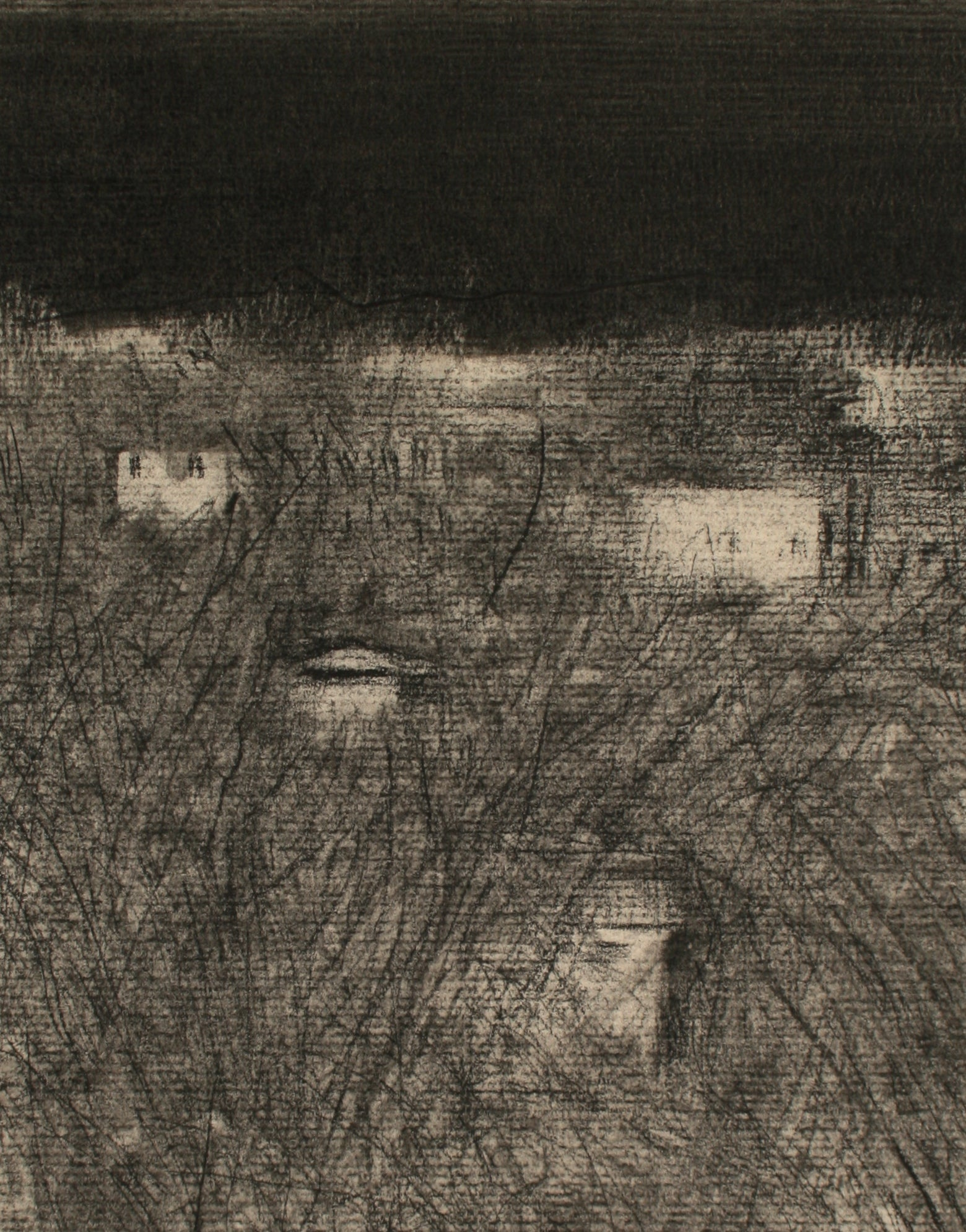 A Field at Night <br>Late 20th Century Charcoal <br><br>#71526