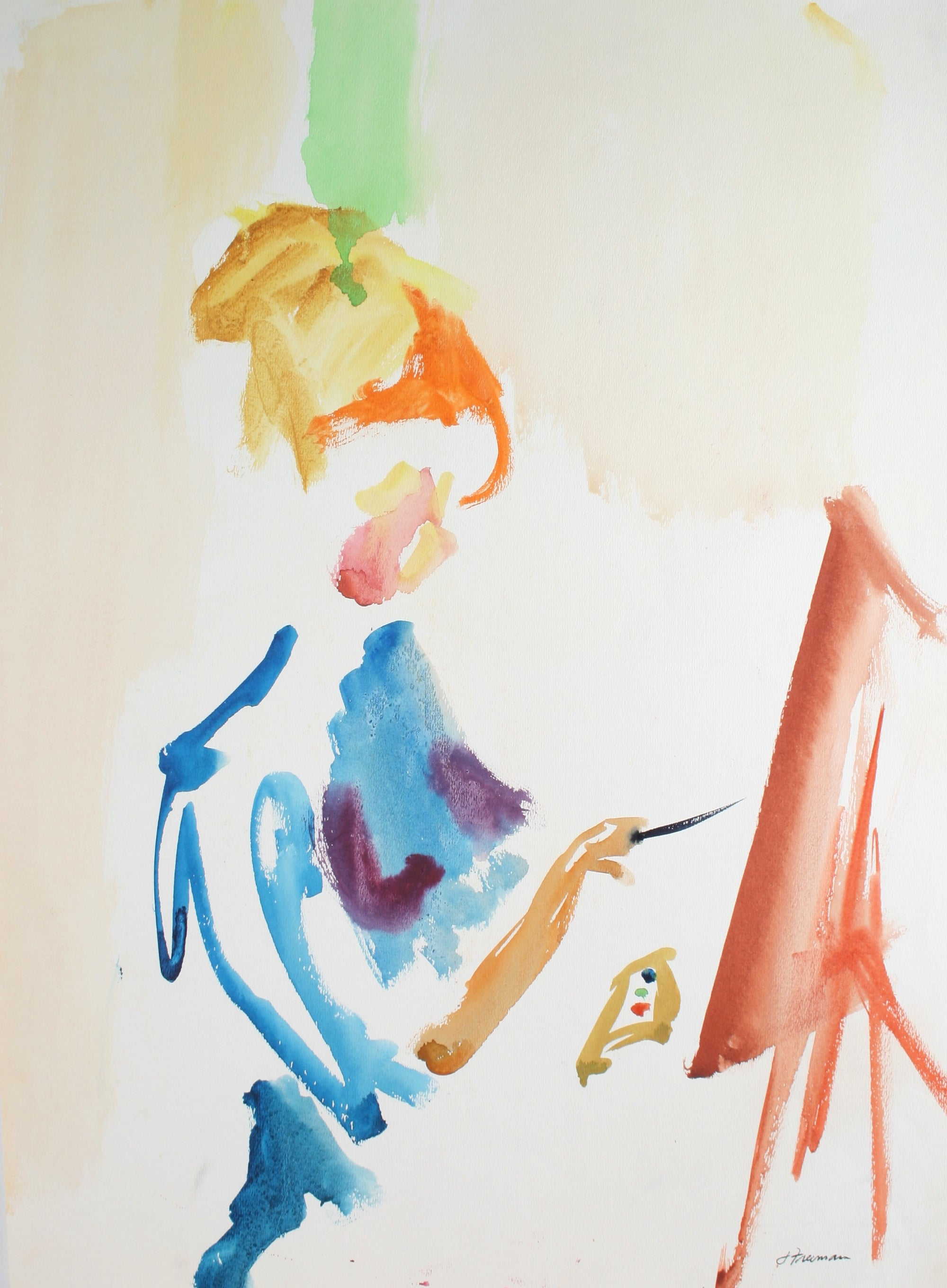 Abstract of a Painter<br>Late 20th Century Watercolor <br><br>#71944