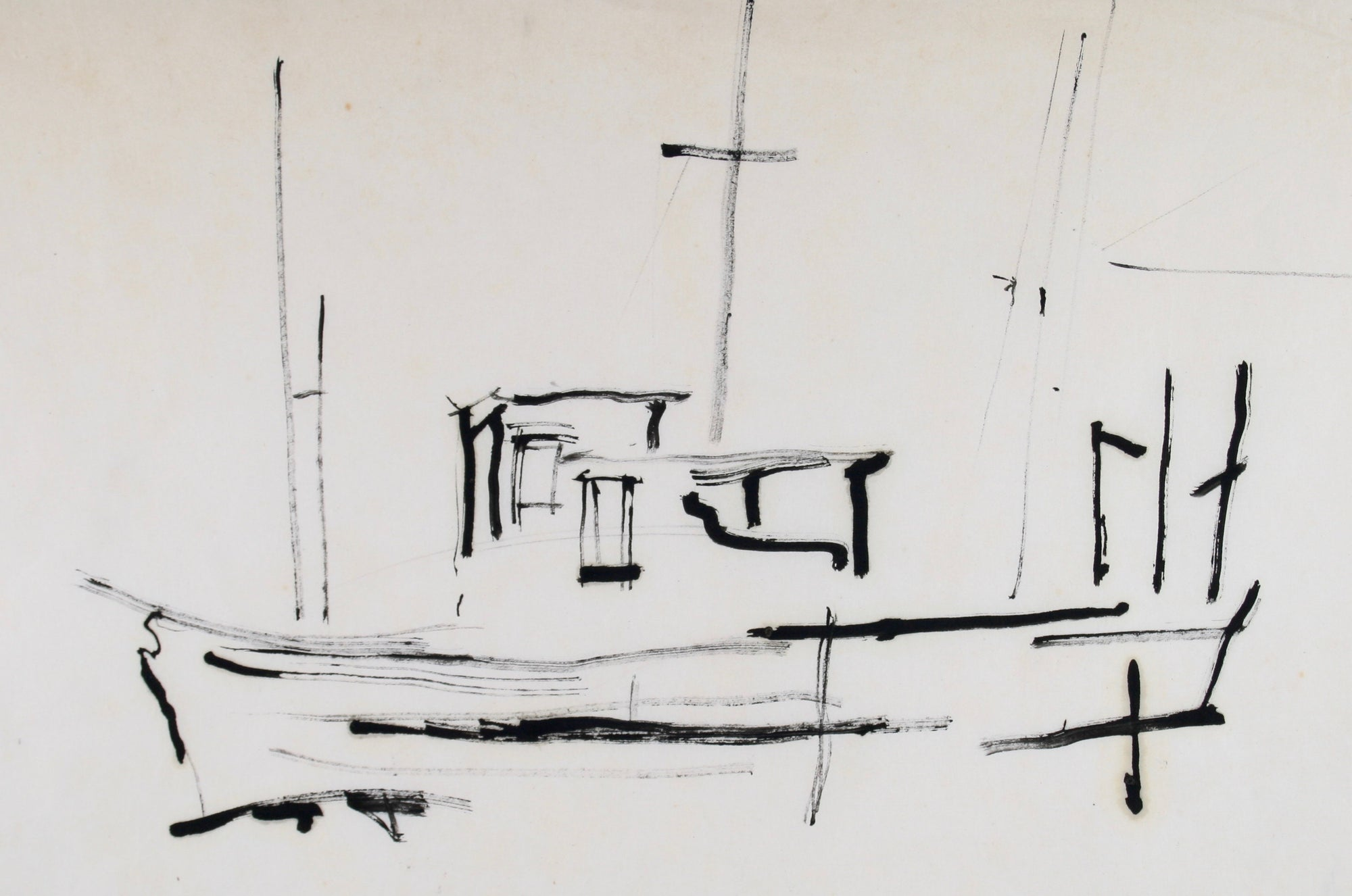 Abstracted Boat at Harbor<br>Mid Century Ink<br><br>#71975