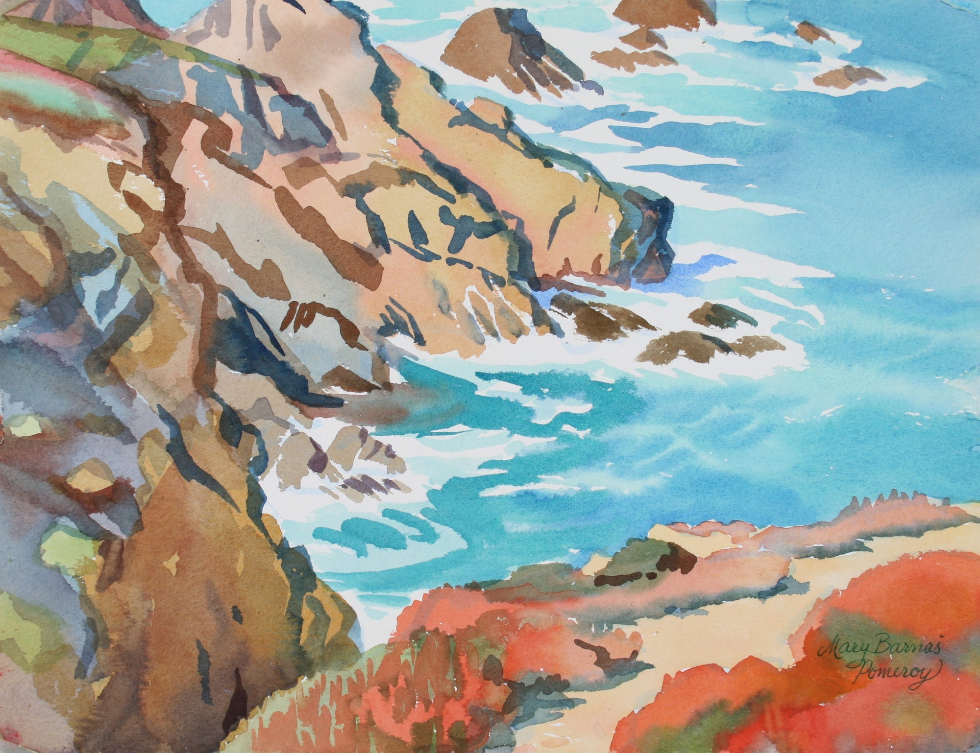 <i>Cliffs Toward Shell Beach</i><br>1991 Watercolor<br><br>#72031