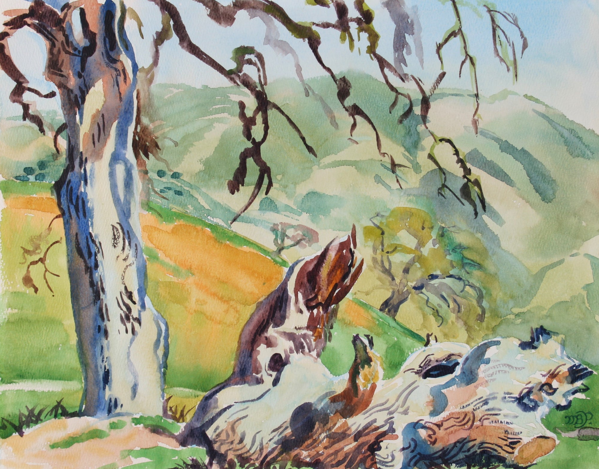 <i>Towards Greenfield</i><br>1970s Watercolor<br><br>#72032