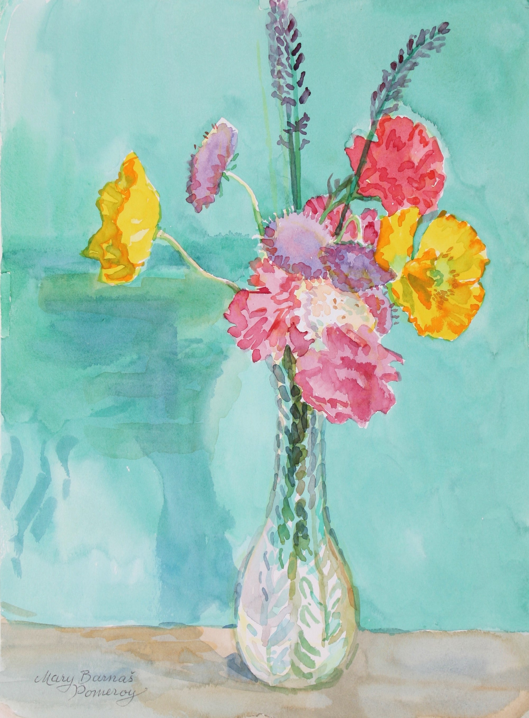 <i>Posy with Iceland Poppy</i><br>1994 Watercolor<br><br>#72033