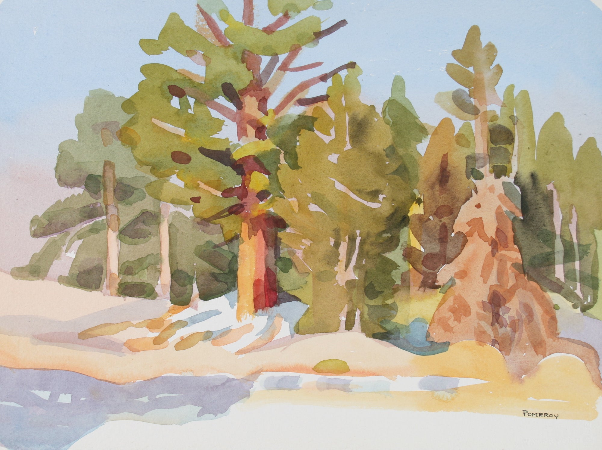<i>Sunlit Juniper Above Silver Lake</i> <br>20th Century Watercolor <br><br>#72042