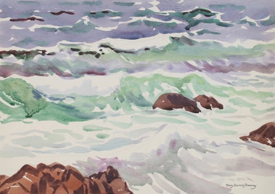 Coastal Watercolor Waves & Rocks <br>Mid-Late 20th Century <br><br>#72051