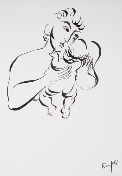 Father Holding His Child <br>1970-80s Ink <br><br>#72129