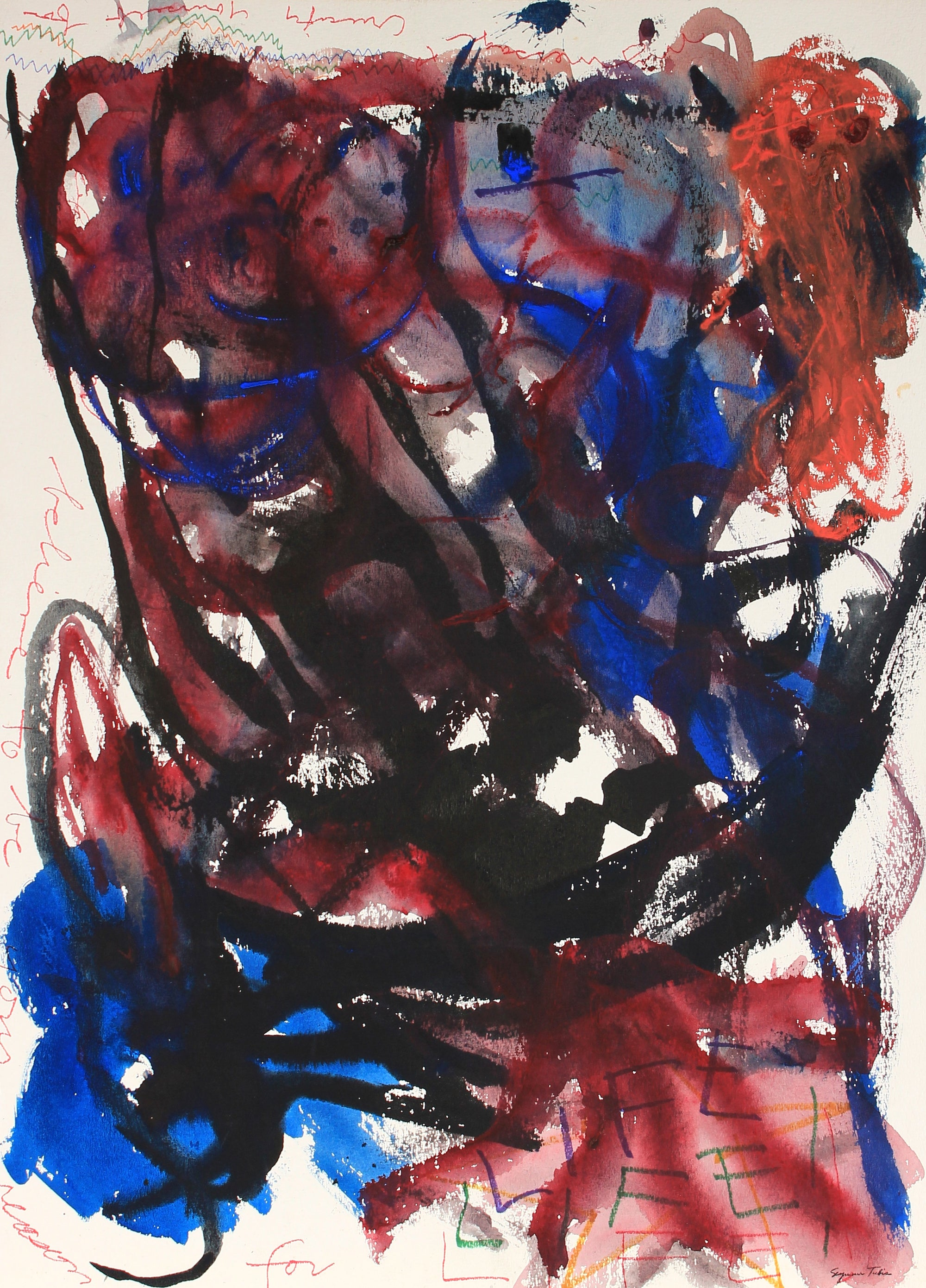 Red and Blue Expressionist Abstract<br>Ink and Acrylic<br><br>#81954