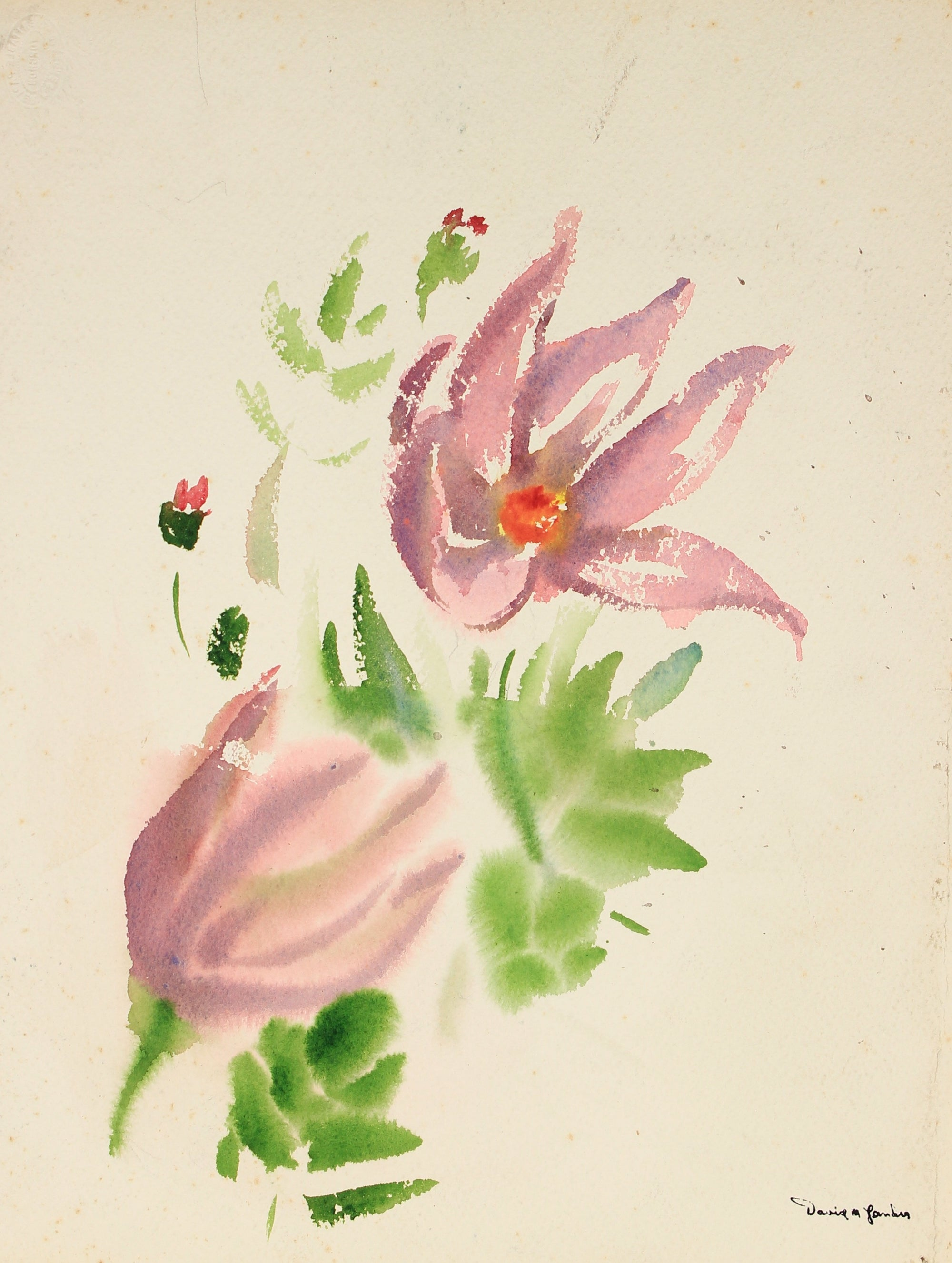 Mid Century Floral Study<br>Watercolor on Paper<br><br>#82245