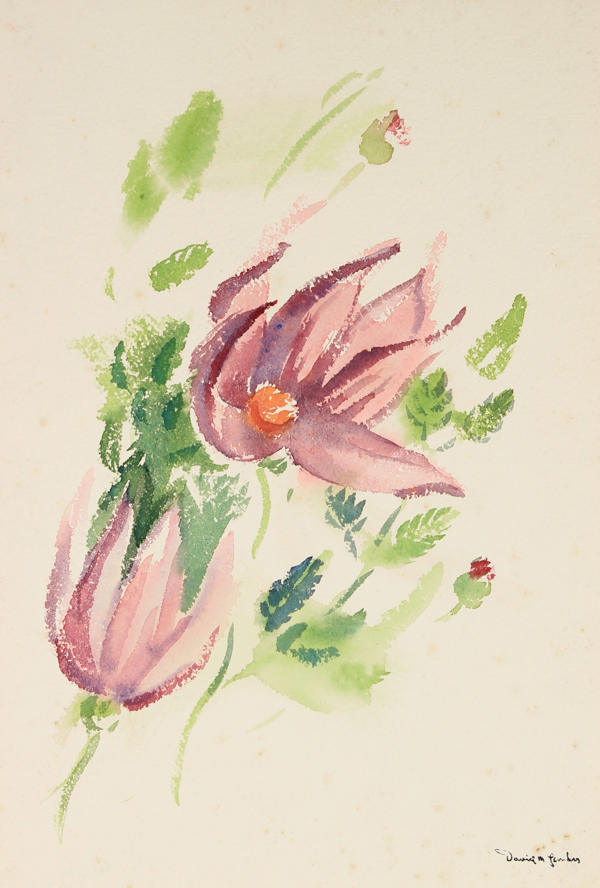 Mid Century Floral Study<br>Watercolor on Paper<br><br>#82247