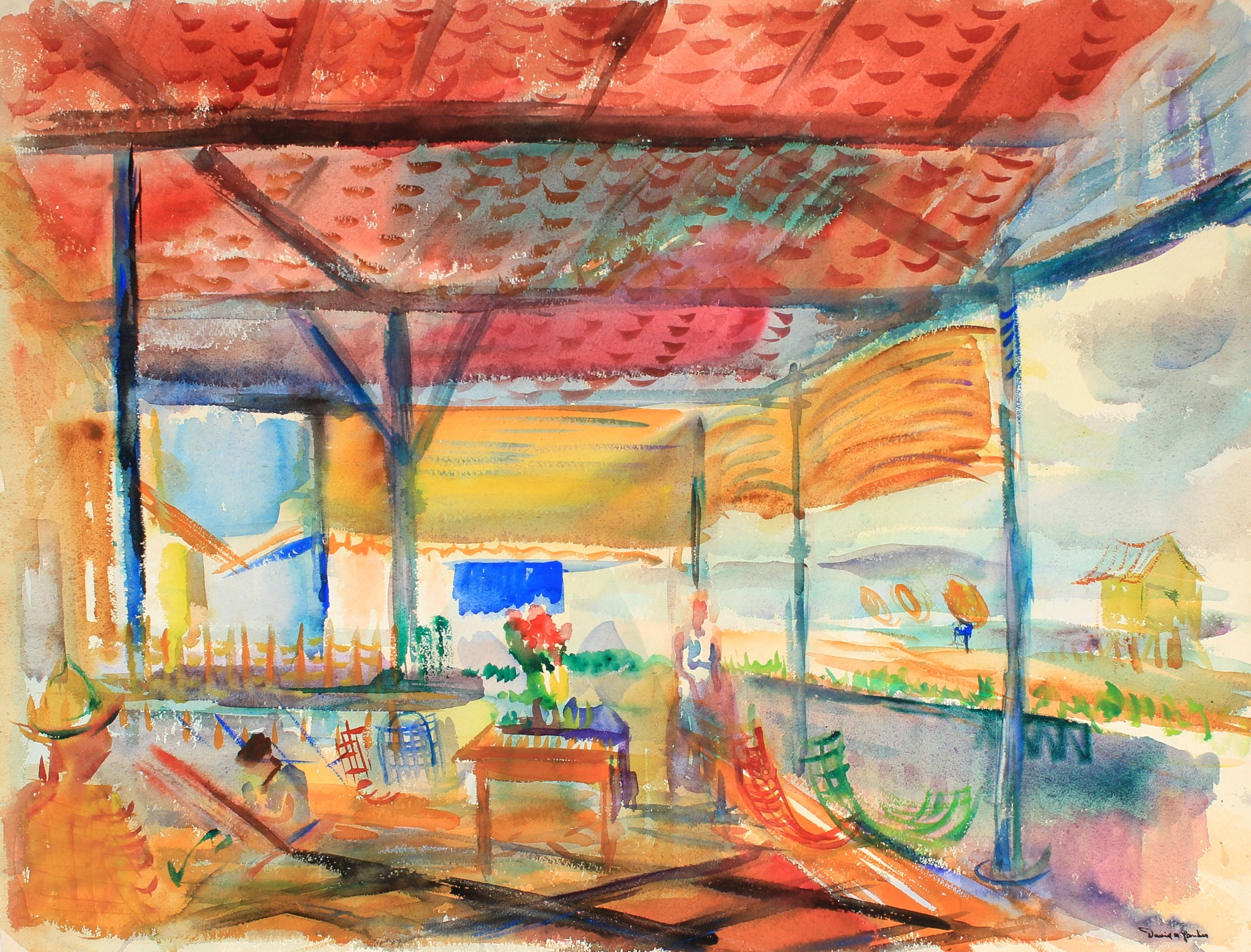 Colorful Abstracted Porch Scene<br>Watercolor, Mid Century<br><br>#82264