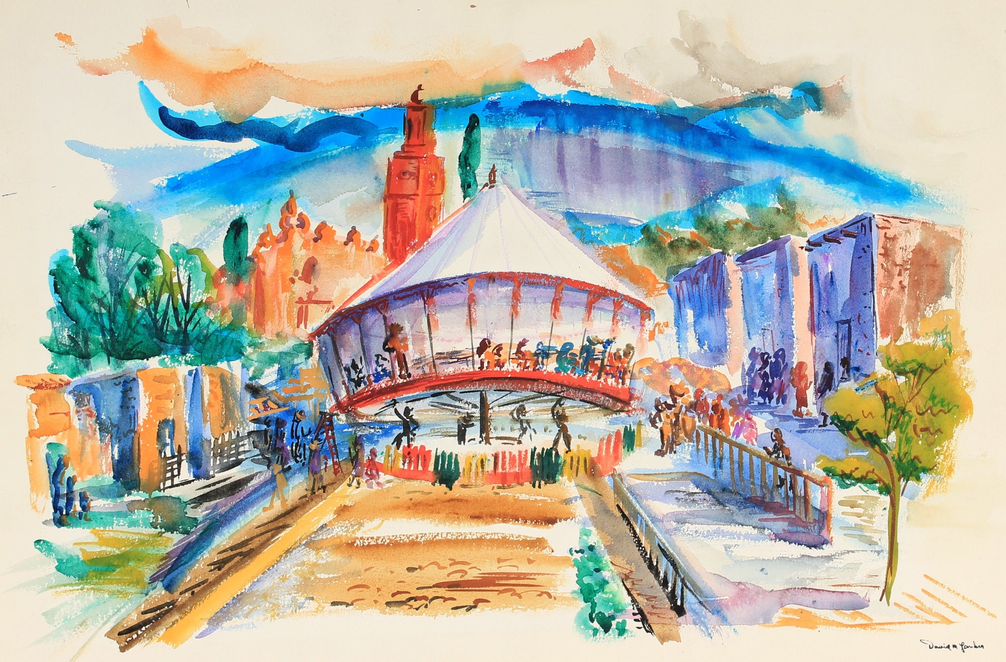 Lively Chicago Carousel<br>Mid Century Watercolor<br><br>#82275