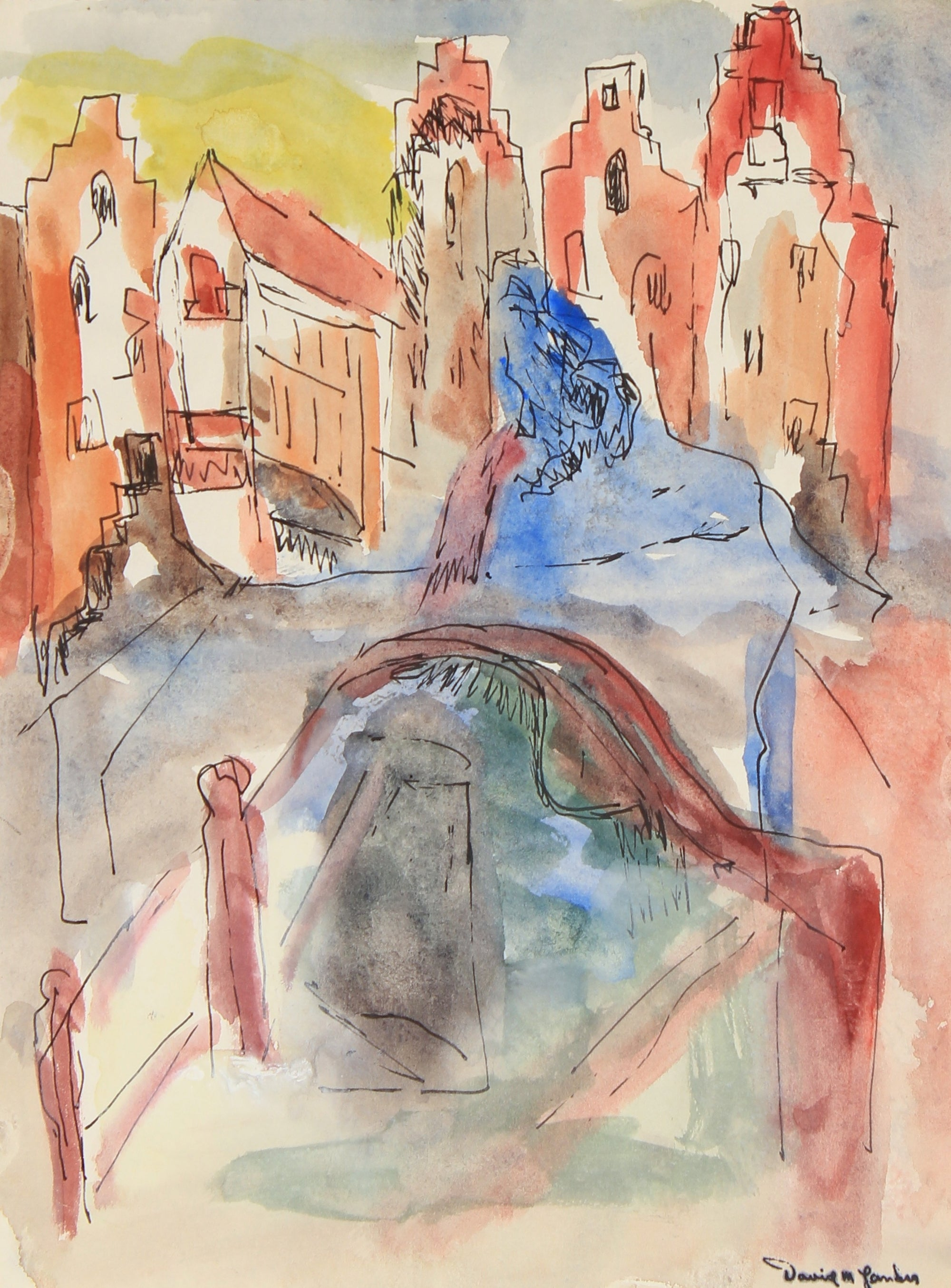 City Scene with Bridge<br>Mid Century Watercolor & Ink<br><br>#82281