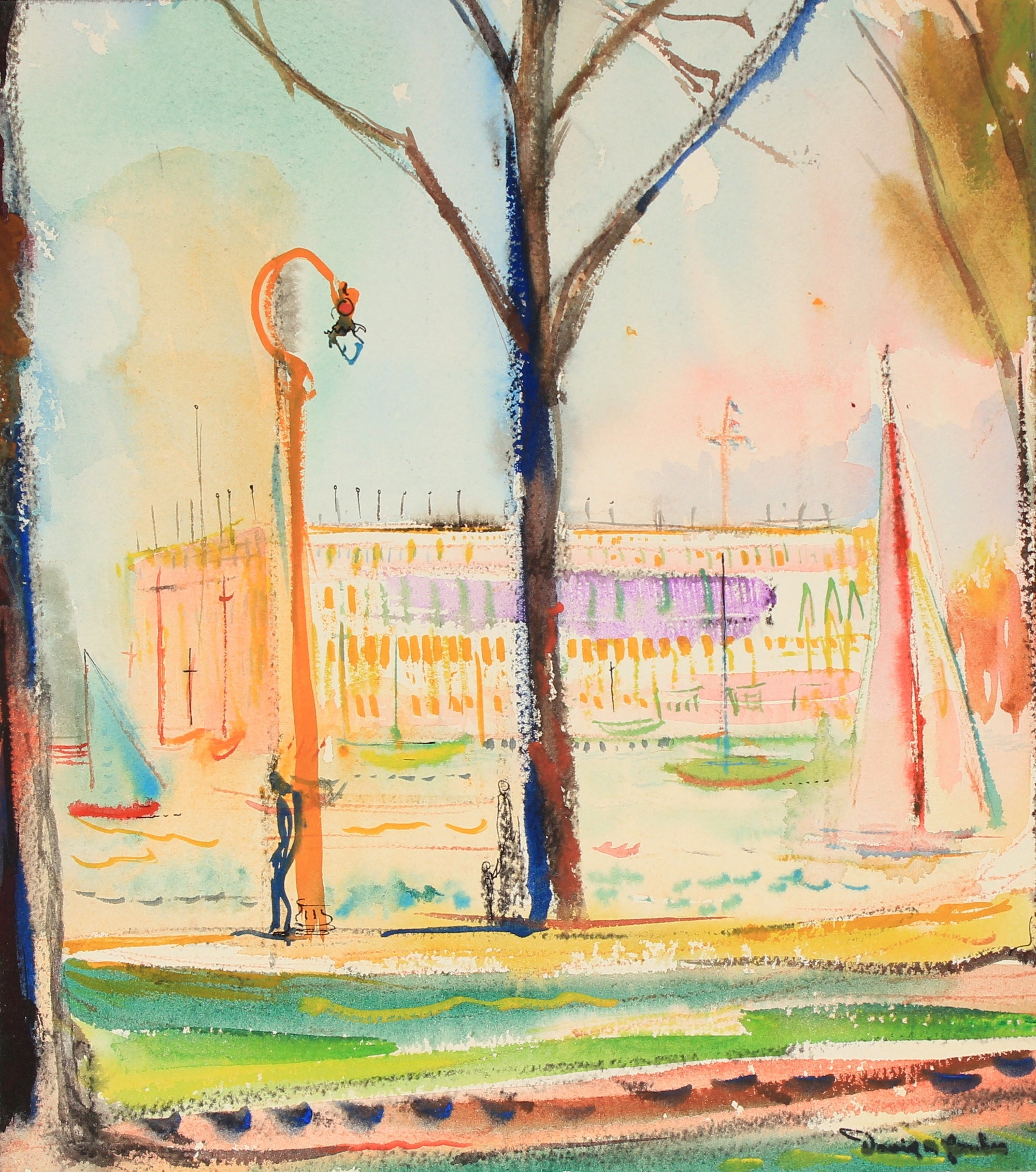 Streetlamp in Venice, Italy<br>Mid Century Ink & Watecolor<br><br>#82284