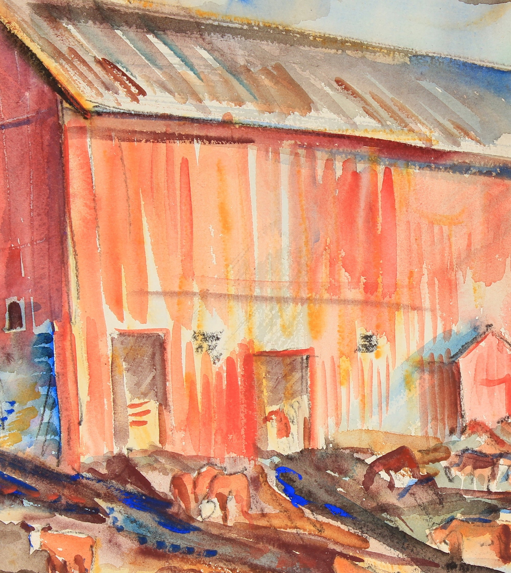 Mid Century Cows & Red Barn<br>Watercolor & Ink on Paper<br><br>#82285