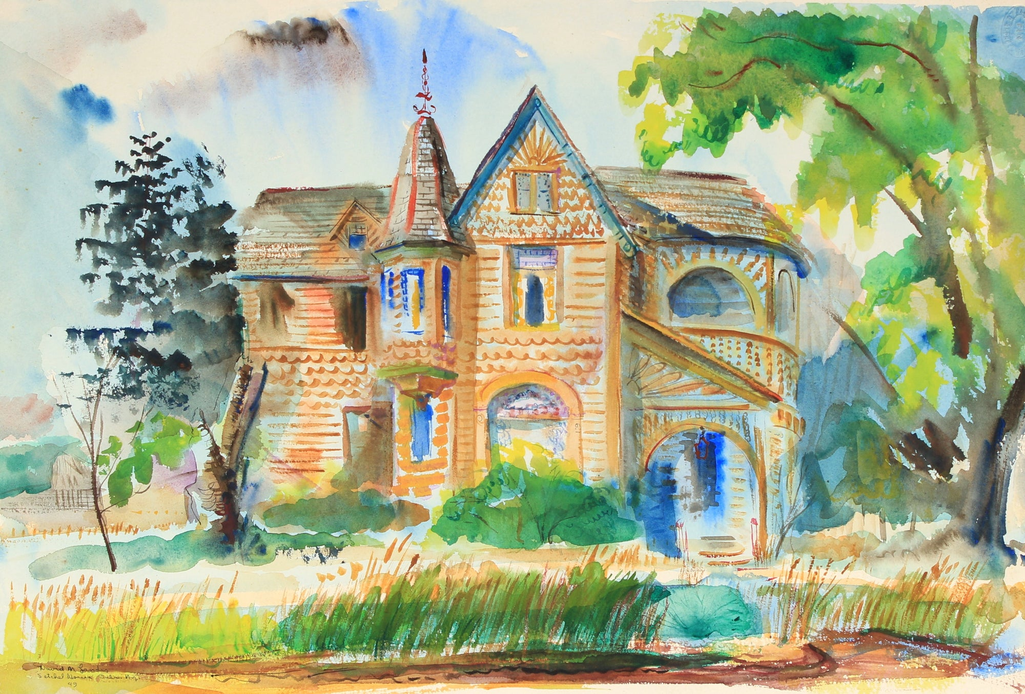 <i>Setchell House, Cuba New York</i><br>1949 Watercolor & Ink<br><br>#82294
